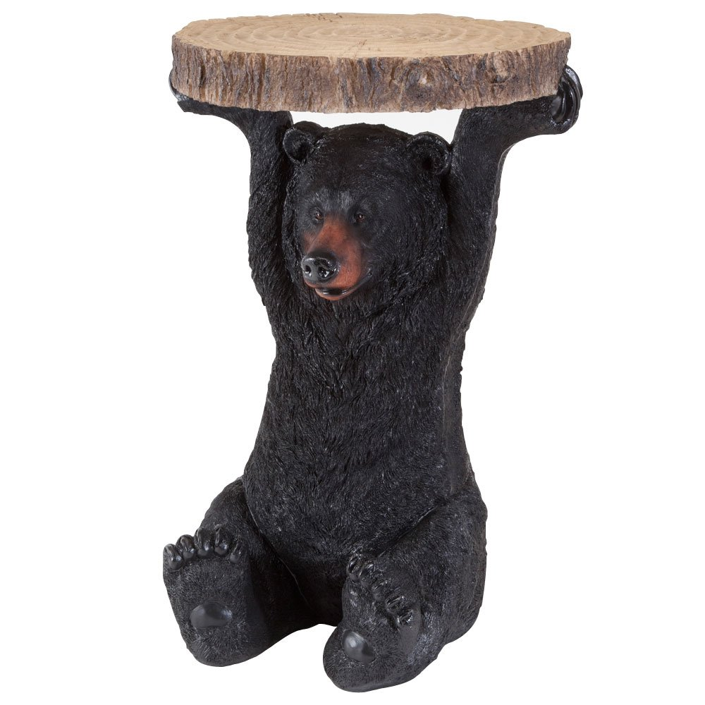 bits and pieces decorative bear patio side table accent black end tables realistic great for the cabin decoration indoor outdoor unfinished wood brown box frame nesting chunky