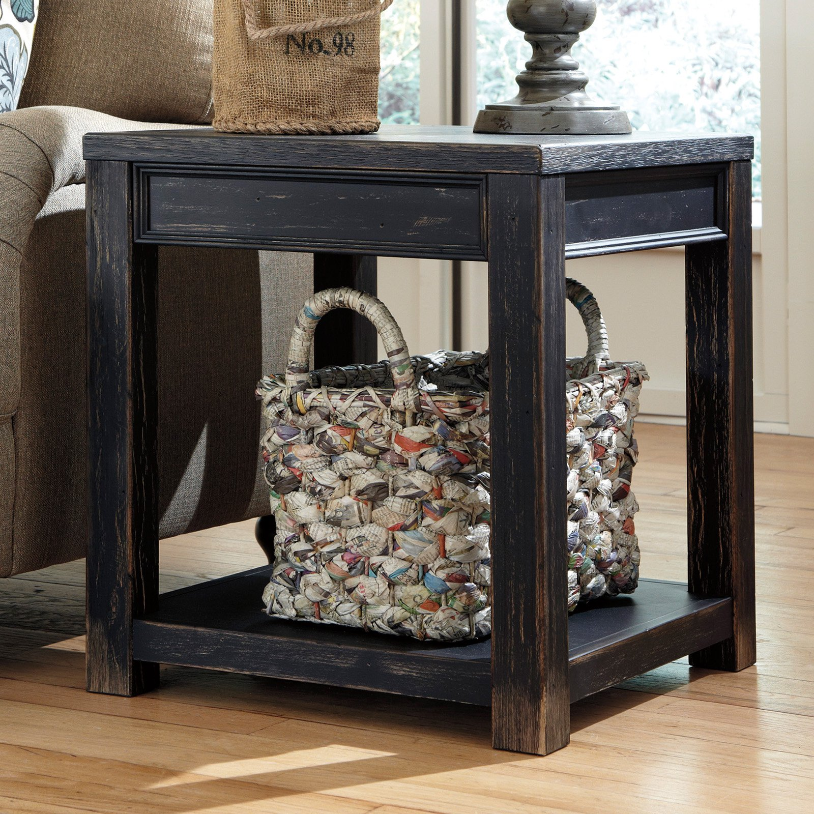black end tables living room ideas signature design ashley gavelston square table furniture swivel chair decorative dog crates and kennels office accent wall color with brown sofa