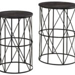 black finish wire metal nesting end tables with espresso wood products signature design ashley color marxim colored tops patio chairs hampton bay large wooden dog kennel oak and 150x150