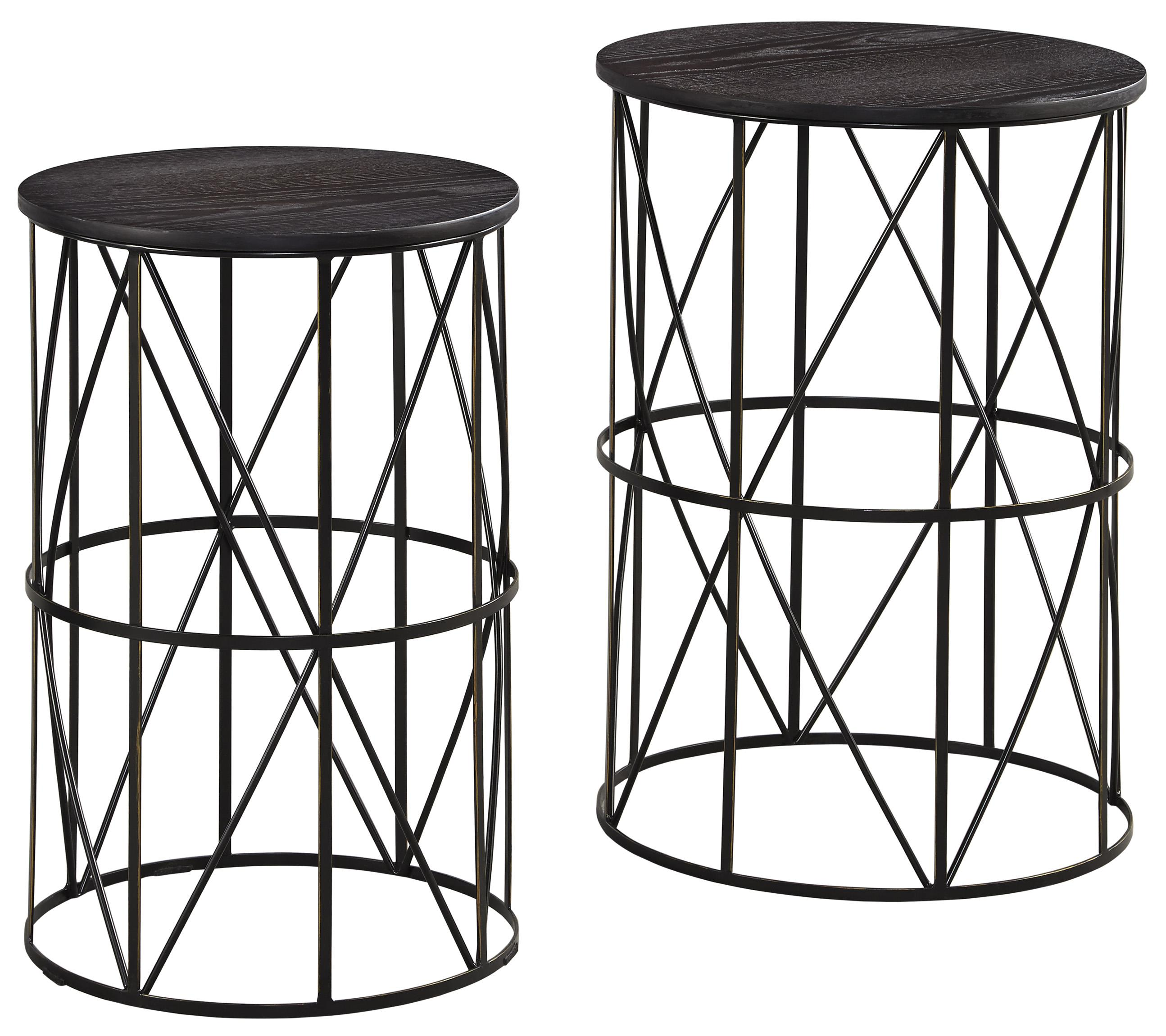 black finish wire metal nesting end tables with espresso wood products signature design ashley color marxim colored tops patio chairs hampton bay large wooden dog kennel oak and