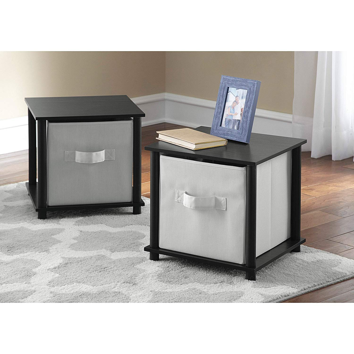 black oak mainstays tools single cube storage shelf end table finish side tables set kitchen dining inch patio low grey coffee wood top silver drum and sets small glass occasional