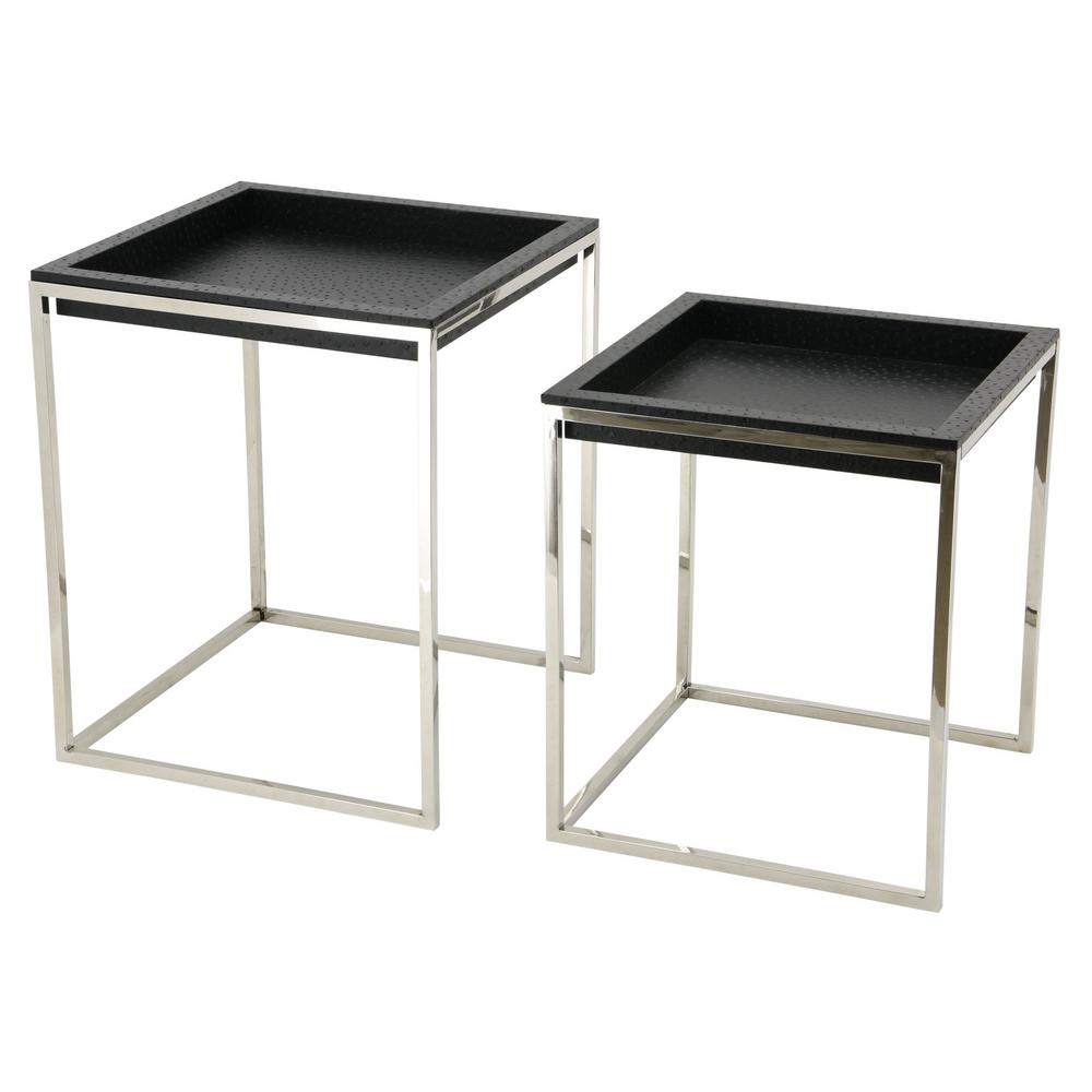 black ostrich leather nesting tables exl the coffee end riverside furniture aberdeen piece dining set toronto modern round glass kitchen table marble and clear lamps for bedroom