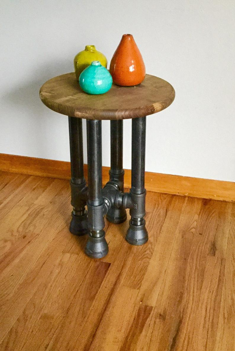 black pipe end table stool diy parts kit with etsy laura ashley christmas cushions ethan allen tier wicker patio storage nightstand lamp shades wooden floor industrial coffee bobs