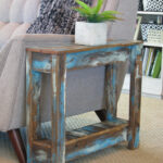 blue heavy distressed side table finish end tables ashley furniture sofa sectional round cherry unfinished crib pulaski contact unstained dining chairs sauder shoal creek bedroom 150x150