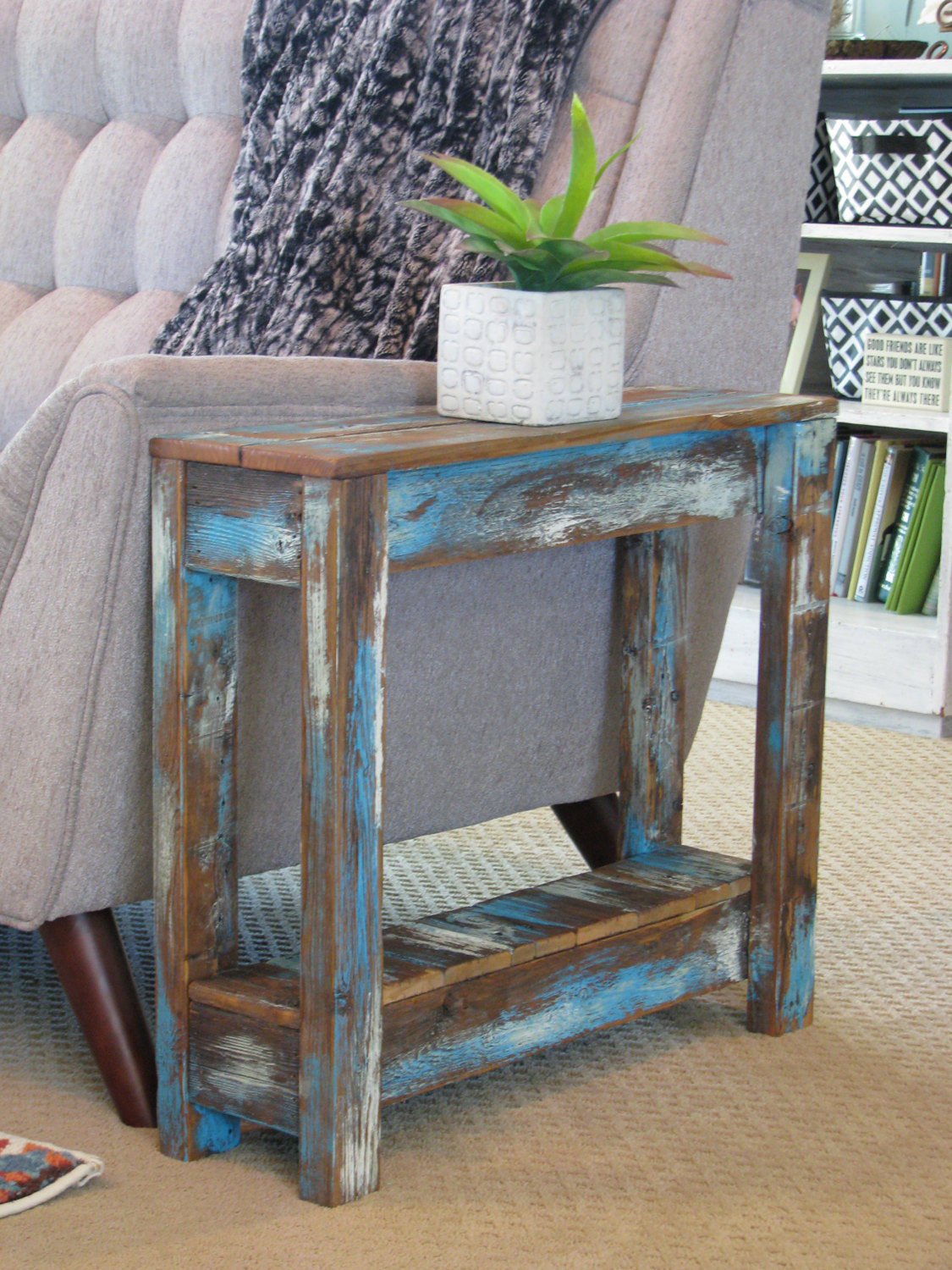 blue heavy distressed side table finish end tables ashley furniture sofa sectional round cherry unfinished crib pulaski contact unstained dining chairs sauder shoal creek bedroom