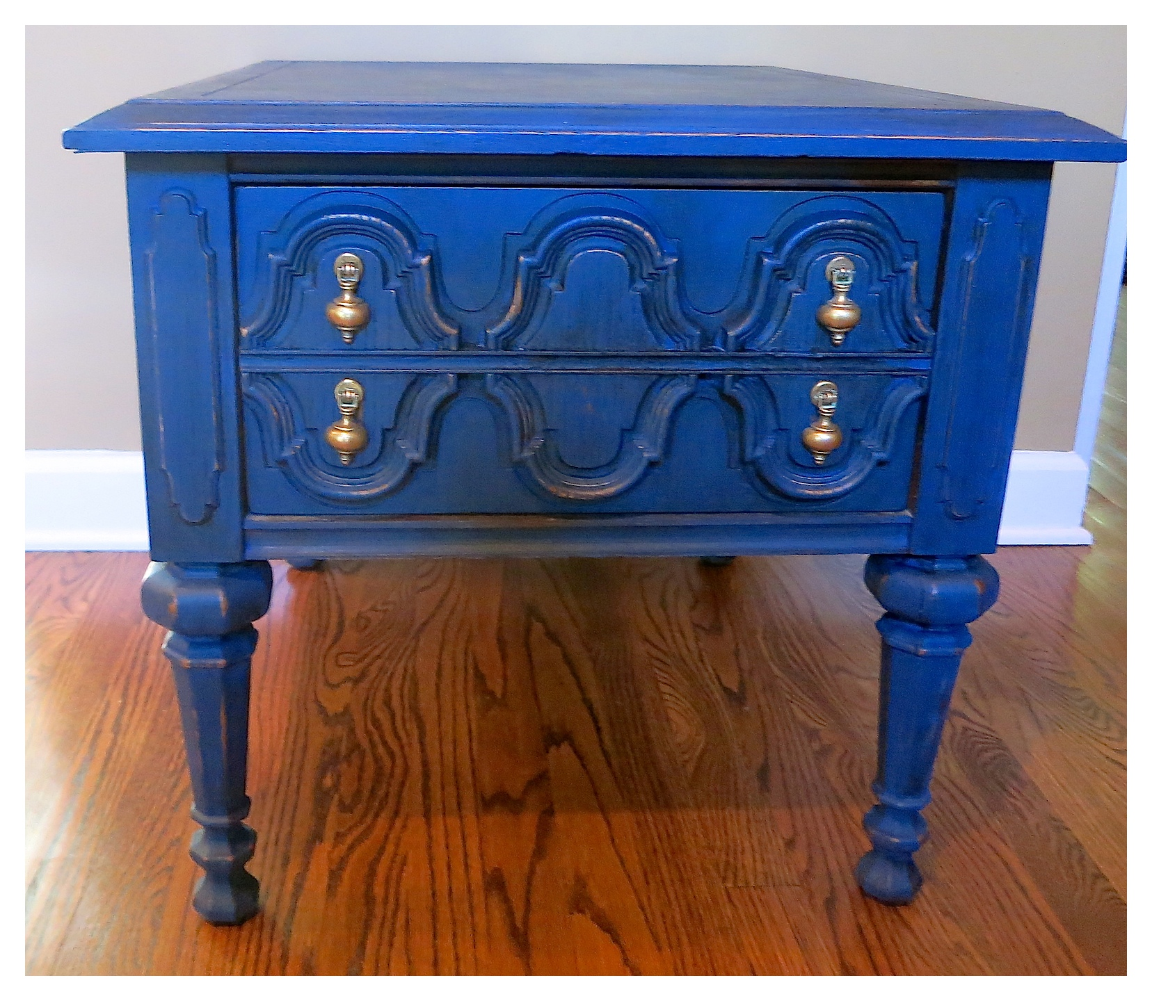 blue painted end table makeover bees pod img tables don usually paint with dark bright colors but will now think our turned out great small round whalen industrial furniture