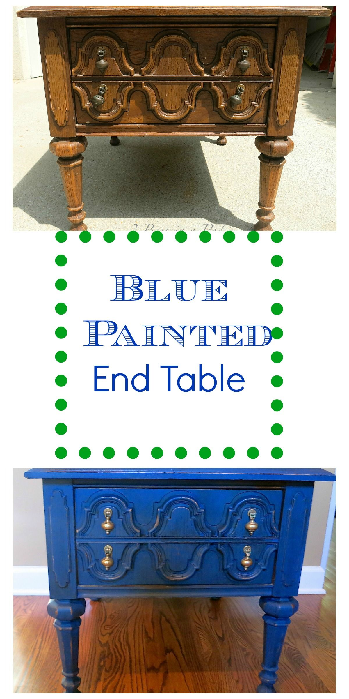 blue painted end table makeover painting tables with customer color homemade chalk paint modern dog crate furniture industrial pipe console fire pit dining chairs distressing