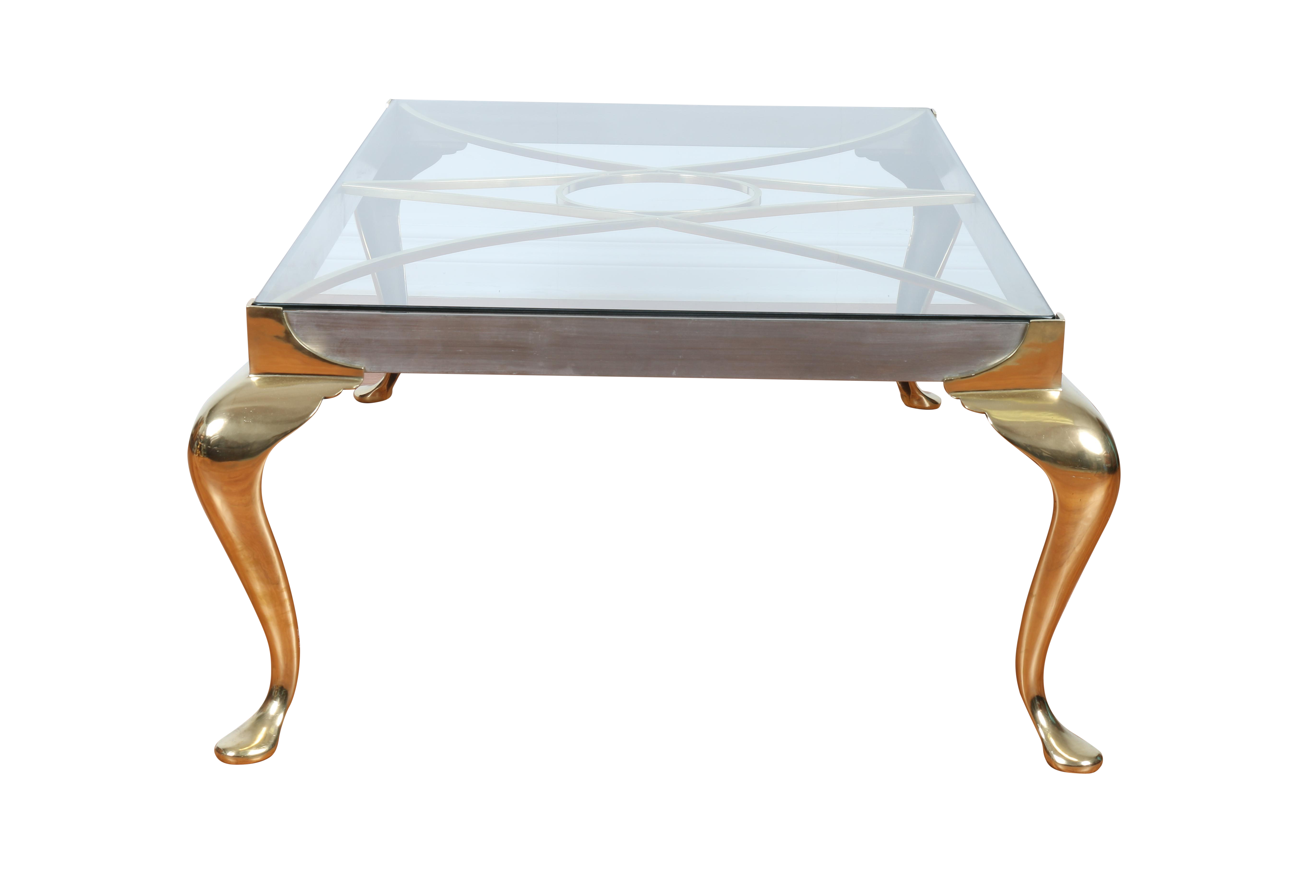 brass coffee table with glass top chairish end bobs furniture dining room tables west elm round mirror fine houston oak land chairs small white antique gray nightstand sauder