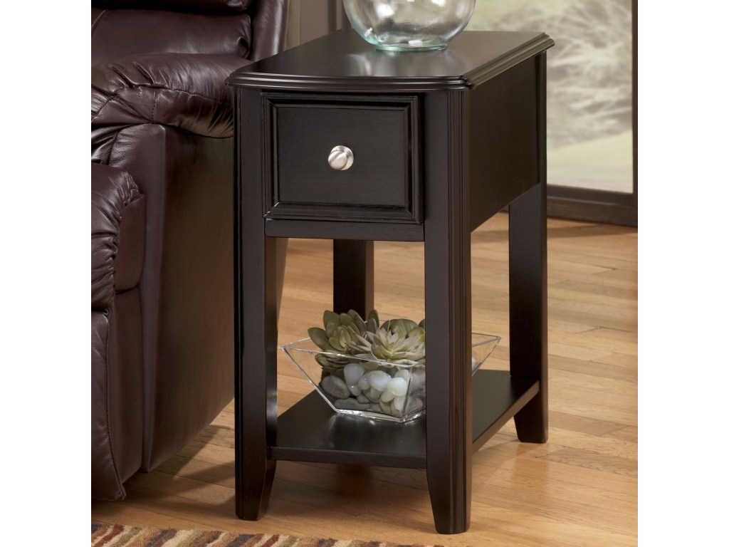 breegin dark brown contemporary carlyle chairside end table products signature design ashley color tables for couch furniture row ping center faux marble top distressed wood look
