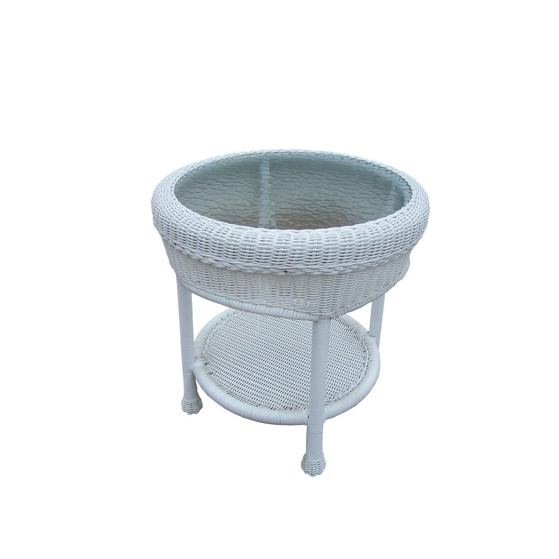 bright white two level resin wicker end table with glass top free shipping today homesense london loveseat vanity lights cappuccino nightstand ameriwood bedside lamps steel pipe