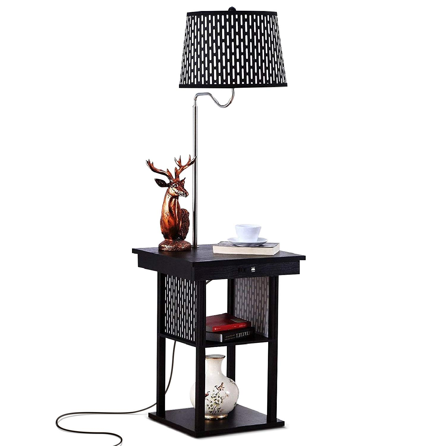 brightech madison led floor lamp with usb charging end table combo ports mid century modern bedside nighstand shelves for living room sofas roddington ashley furniture outdoor