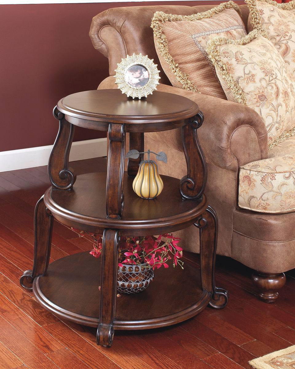 brookfield dark brown round end table furniture land columbus inch patio marble and glass sofa stand oval wood coffee with metal legs big lots sets decorating leather creative dog
