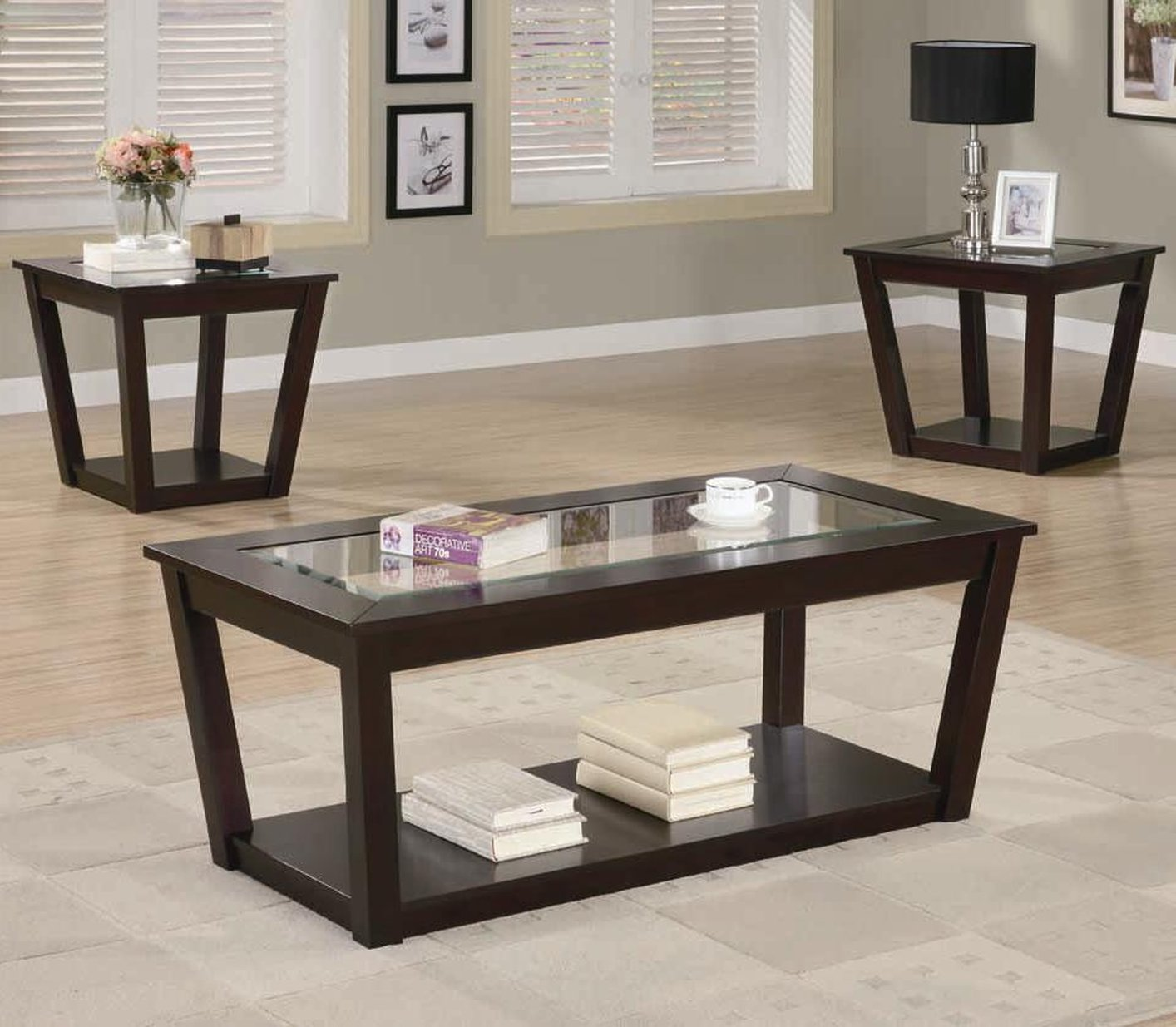 brown wood coffee table set steal sofa furniture los fenmore glass end tables angeles patio covers gas pipe base kits best lamps tall white large sets cool nic universal kids