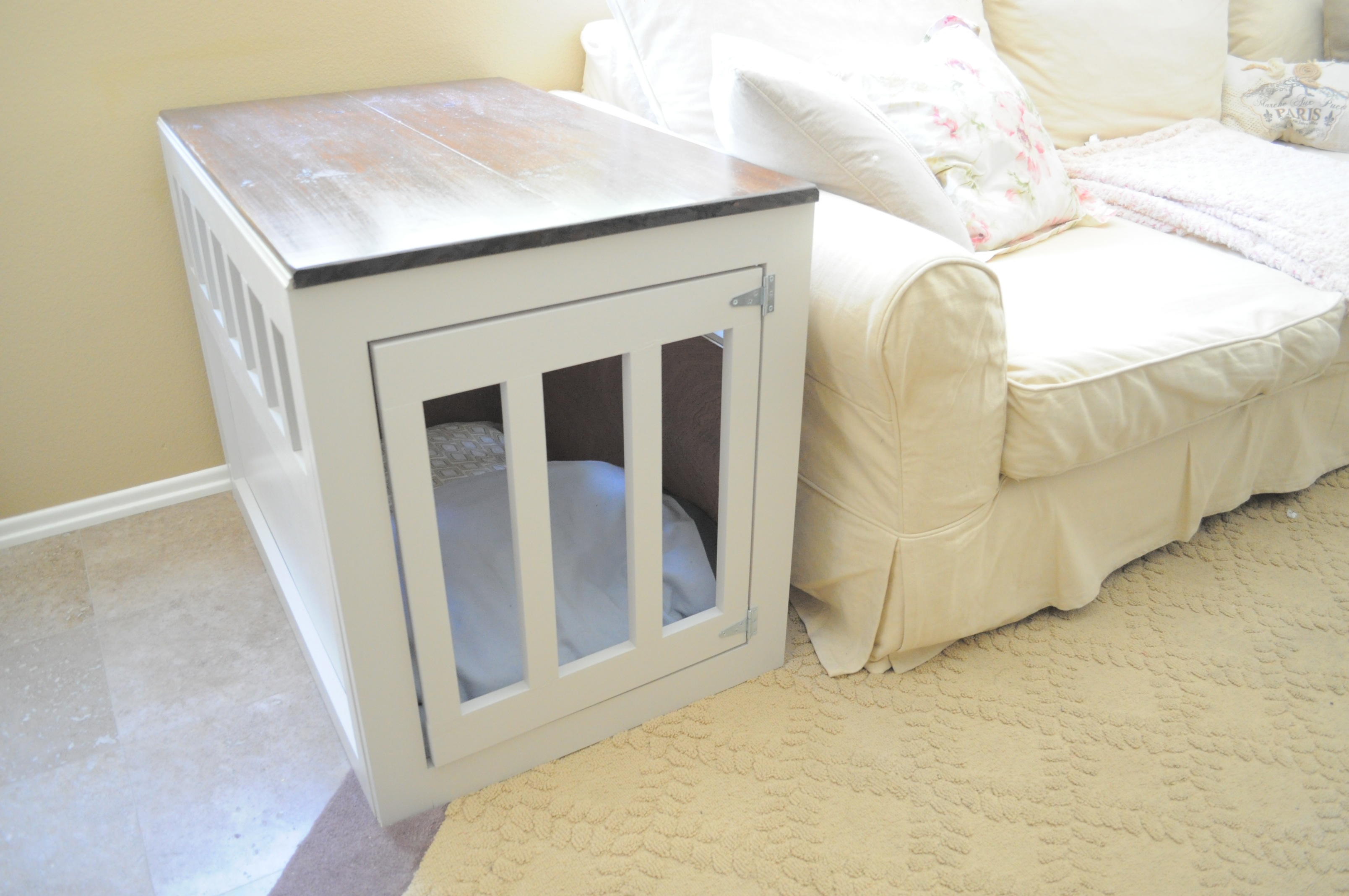 build your own dog crate end table quick woodworking diy dinner ethan allen heirloom collection jeco wicker farmhouse coffee with drawers ashley furniture marble albany reviews