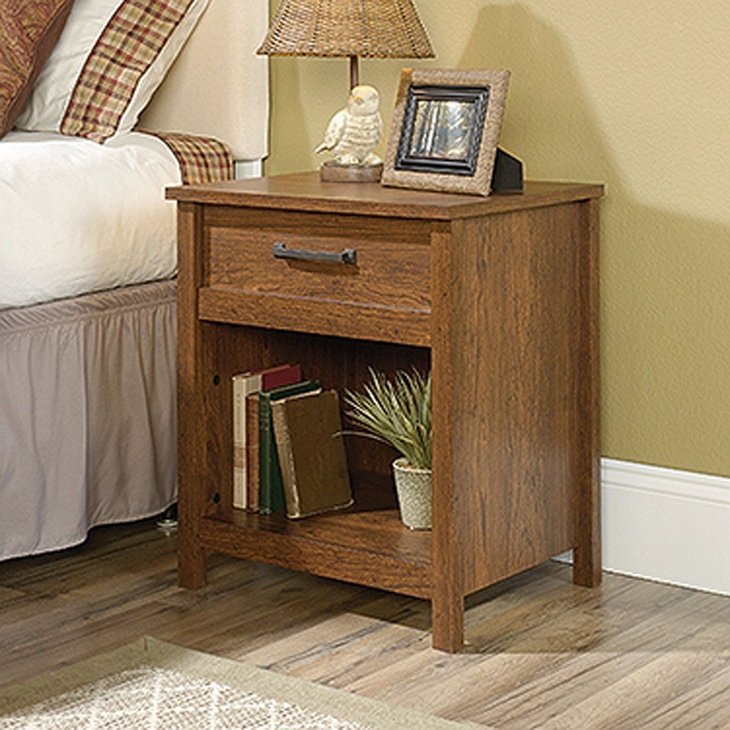 cannery bridge night stand milled cherry sauder end table ture piece marble set copper top coffee who sells universal furniture oak and chairs white century rustic bedding chrome