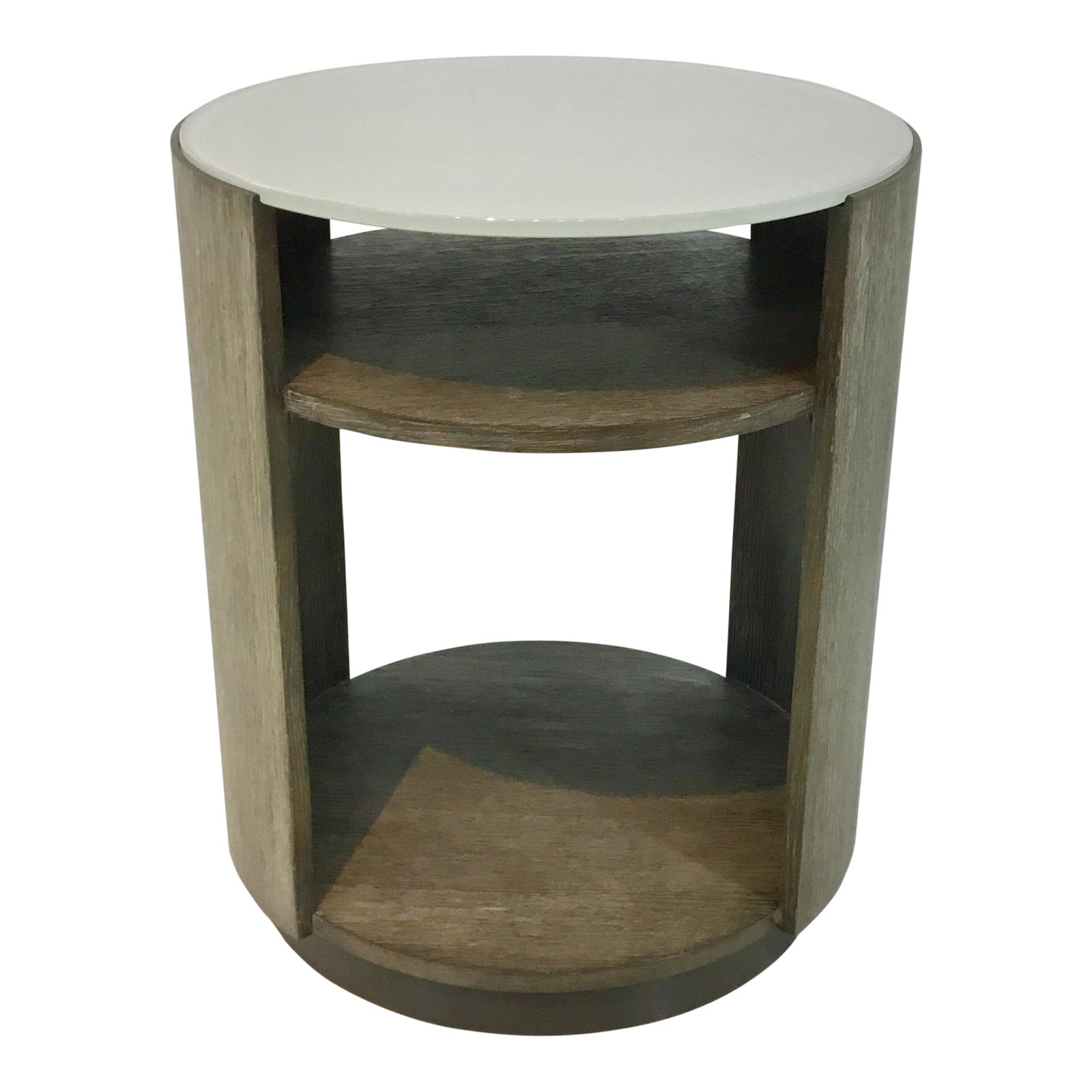 caracole fusion drum wood and frosted glass end table chairish kmart promotional code ethan allen chesterfield sofa handmade dog cage dark grey distressed furniture amish mission
