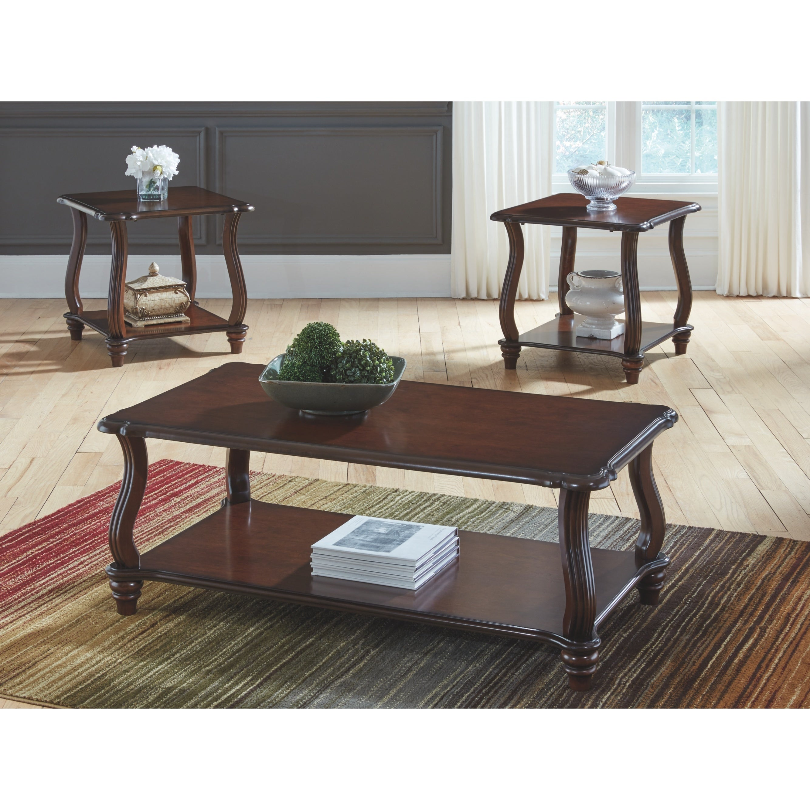 carshaw dark brown coffee table and two end tables set cocktail with seating primitive ethan allen signature firm mattress simple black nightstand pallet patio furniture