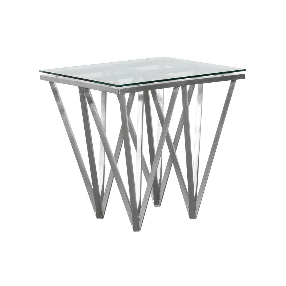 cascade armen living tempered glass top contemporary square end clear tables lccslaglbs table metal brushed stainless steel the inch high pipe target side with draw whalen