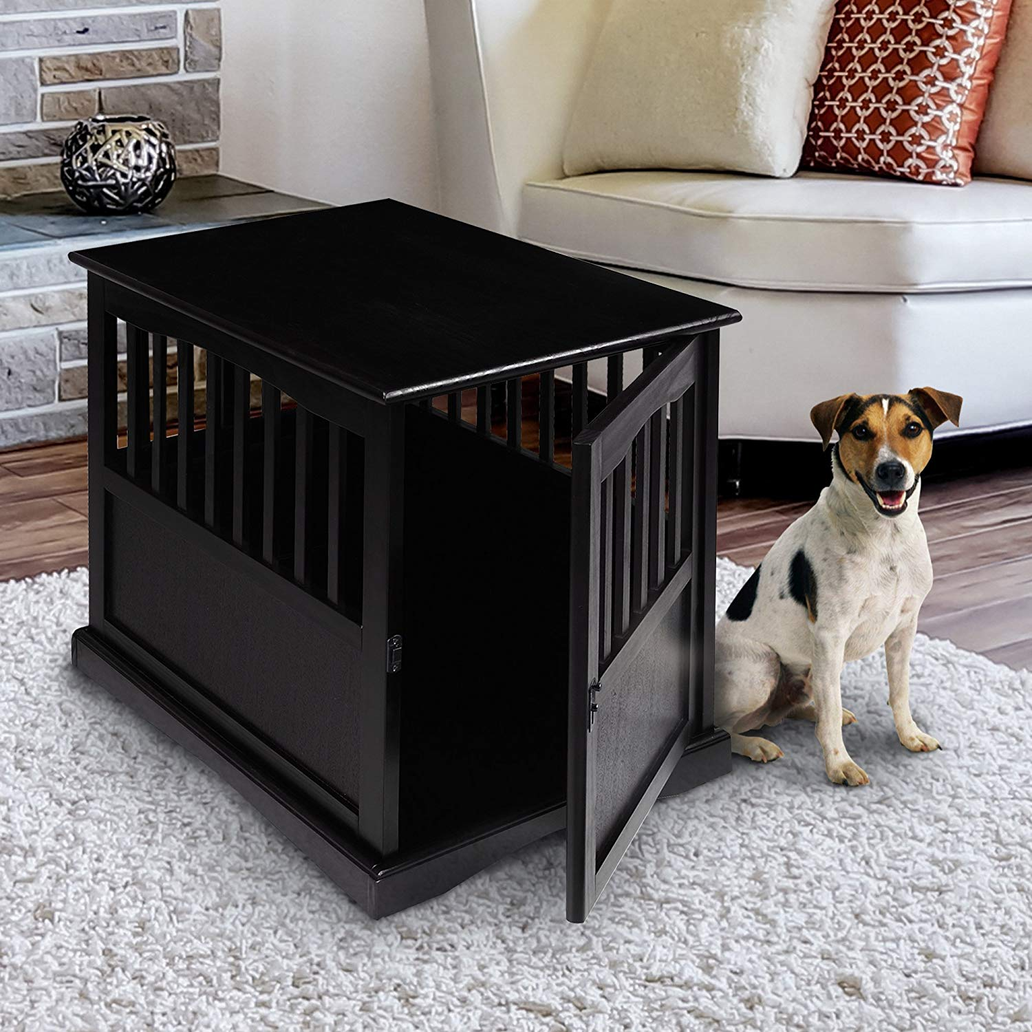 casual home small pet dog crate end table black kitchen wide console iron living room furniture well made bedroom traditional coffee legs mainstays shelf bookcase instructions