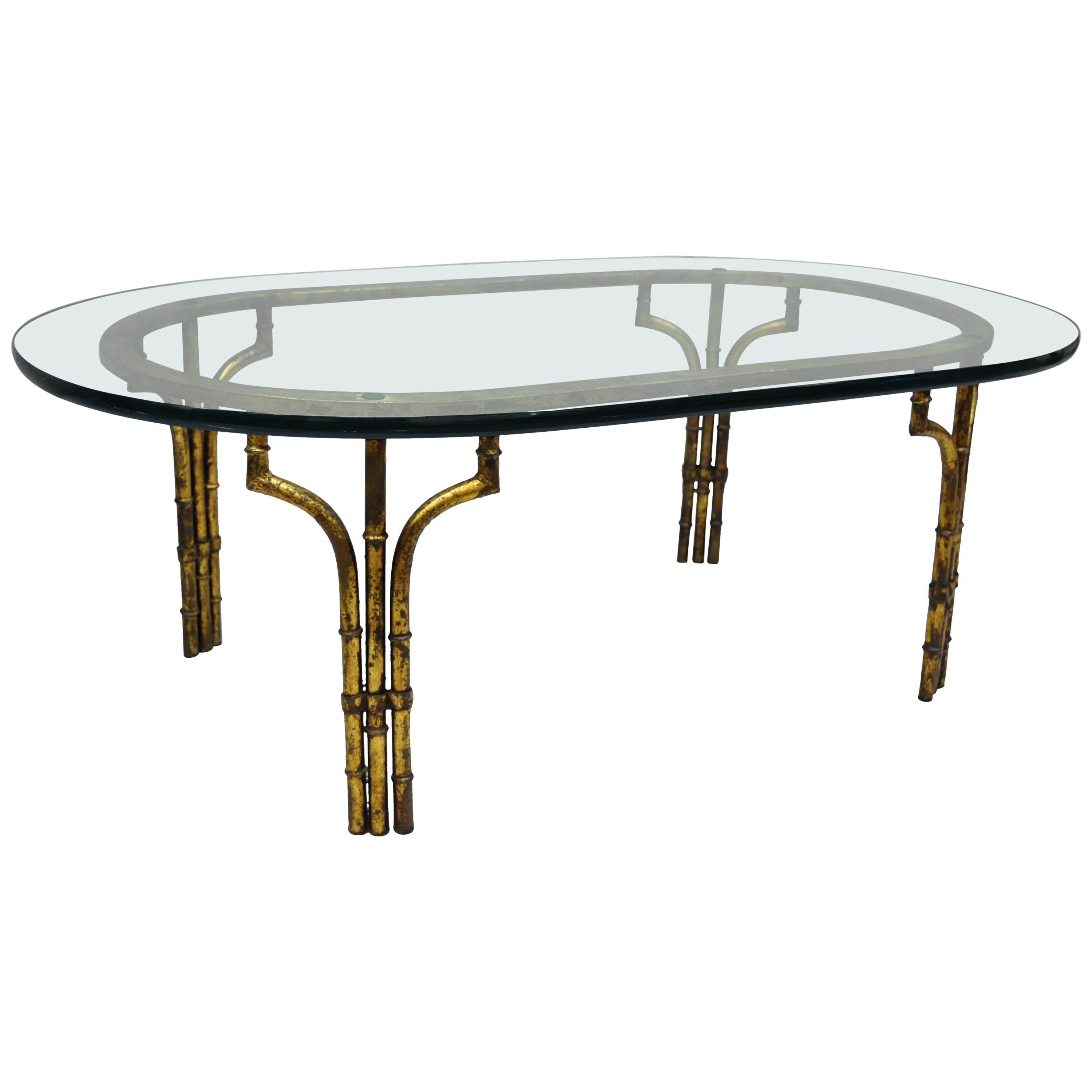century faux bamboo gilt gold glass top iron coffee table for master end diy with drawer patio furniture cleaner black dog crate metal pipe frame hole wooden toscana nest tables