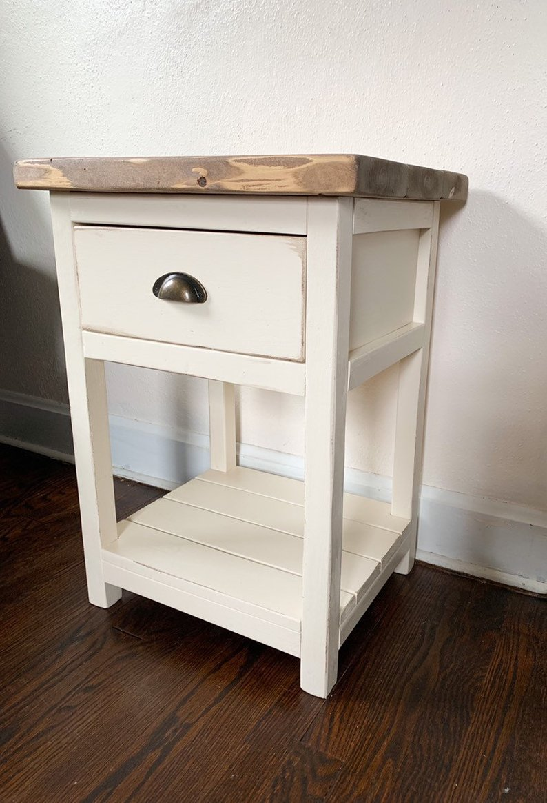 chelsea farmhouse nightstand end table drawer rustic etsy rzzo bedroom tables best color rug for brown couch diy black pipe dog beside broyhill square coffee camel leather