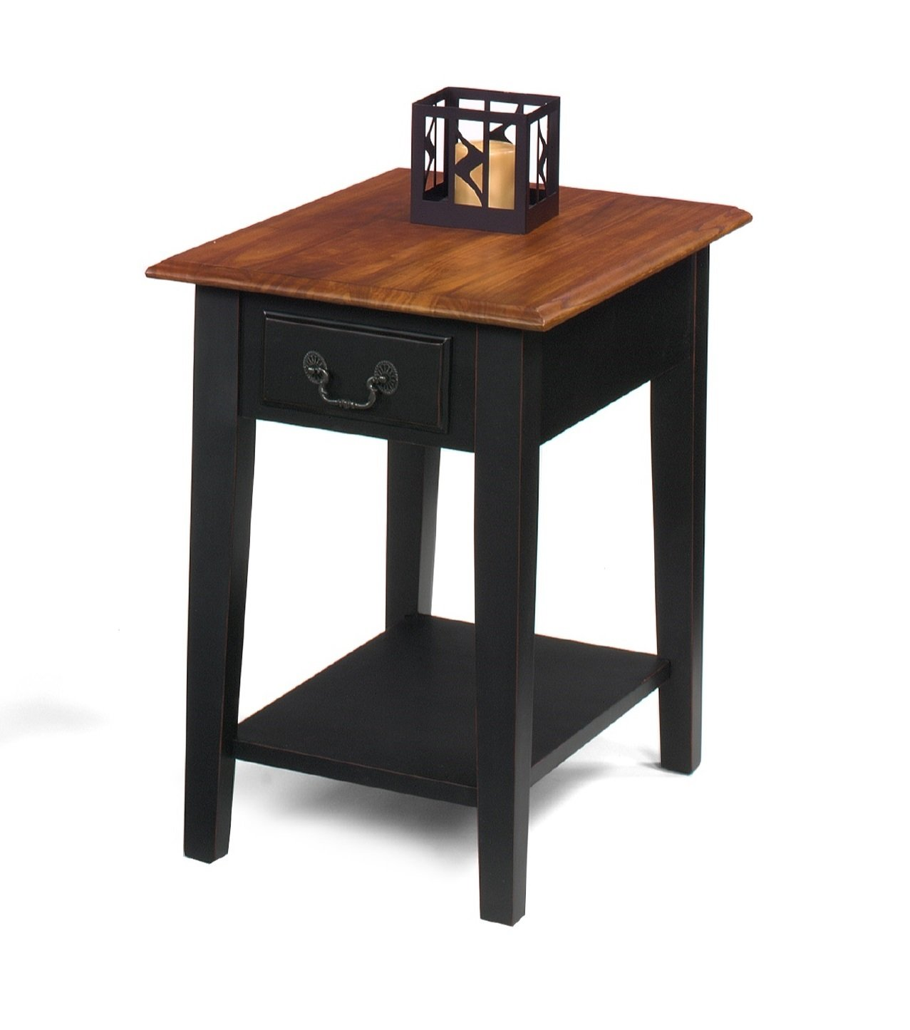 cherry and black solid wood end side table with drawer tables storage rectangular design kitchen dining square for magnolia home grey nightstand bedside lamp size corner office