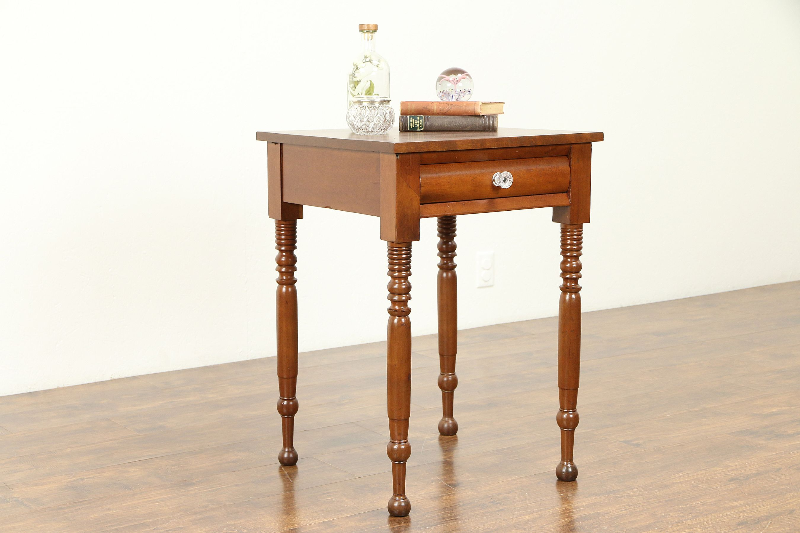 cherry antique nightstand end table glass knob front tables broyhill throw large wire dog kennel painted furniture ideas magnolia market bedding ethan allen country crossings