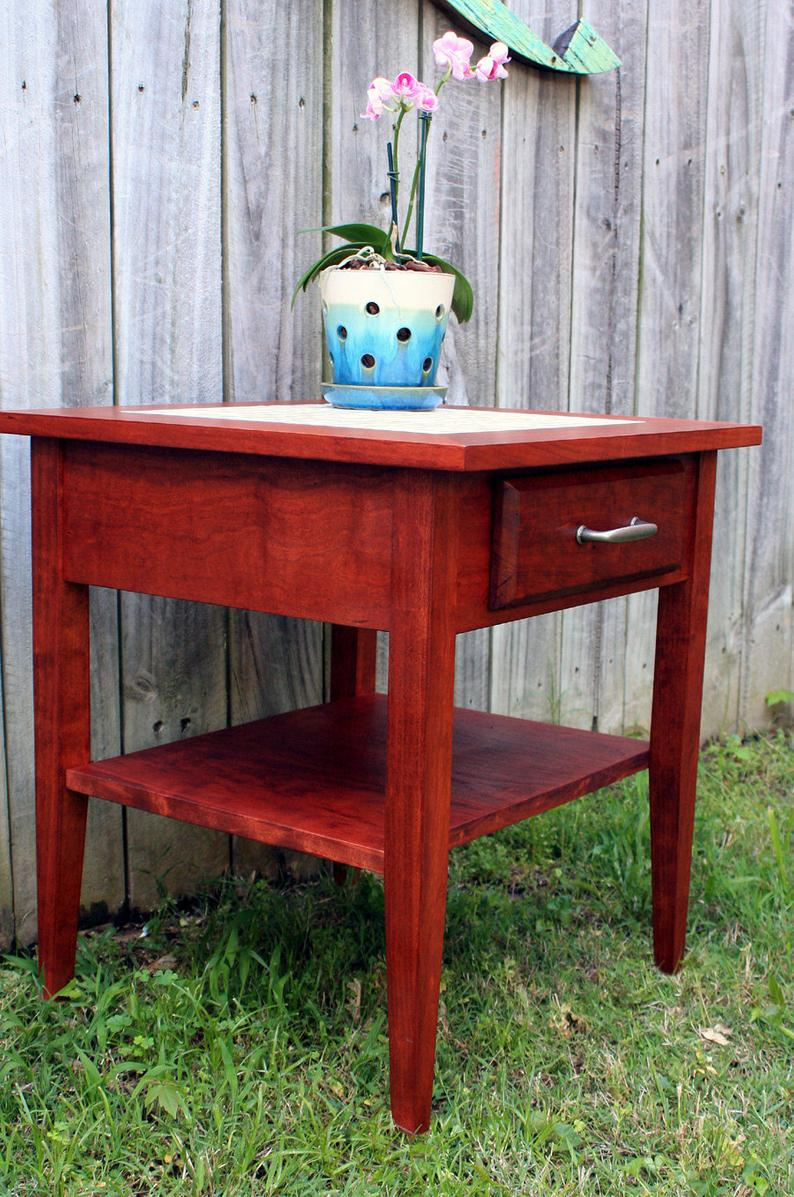 cherry end table mother pearl side etsy jdld natural amish furniture knoxville blue sofa vanity lights log and chairs north shore office round outdoor coffee inch wide nightstand