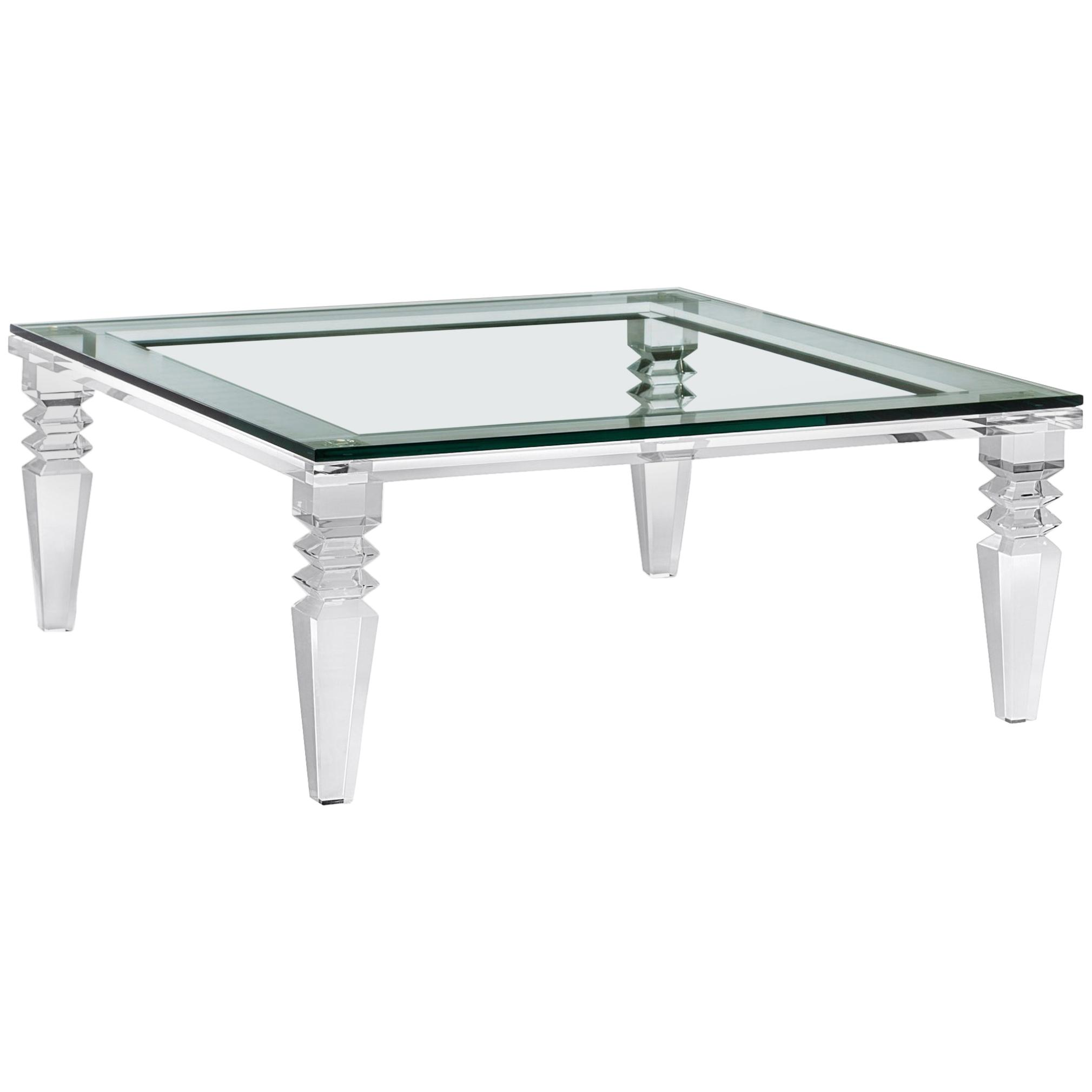 chrysler high end acrylic cocktail table with crystal glass top for master tables eureka futon when were the ans around circular patio furniture rustic side diy plexiglass legs