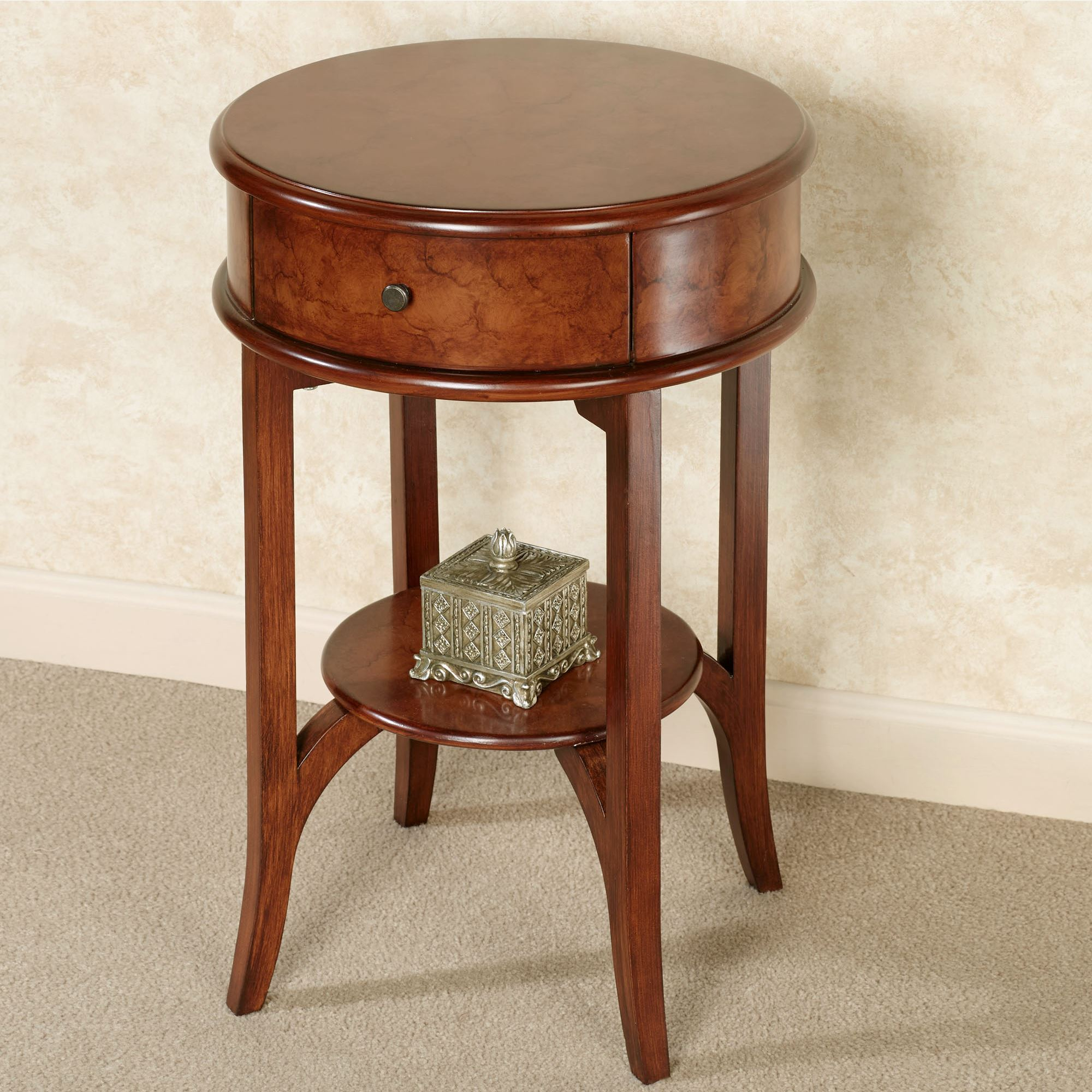 ciliegia natural cherry round accent table end touch zoom south shore furniture headboard skirt inexpensive nightstands how good broyhill closeout coffee tables glass edmonton