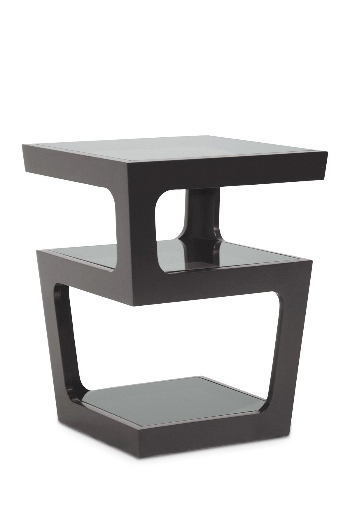 clara black modern end table with tiered glass shelves products contemporary tables lexington cottage furniture unfinished oak tops brown leather sofa blue cushions round metal