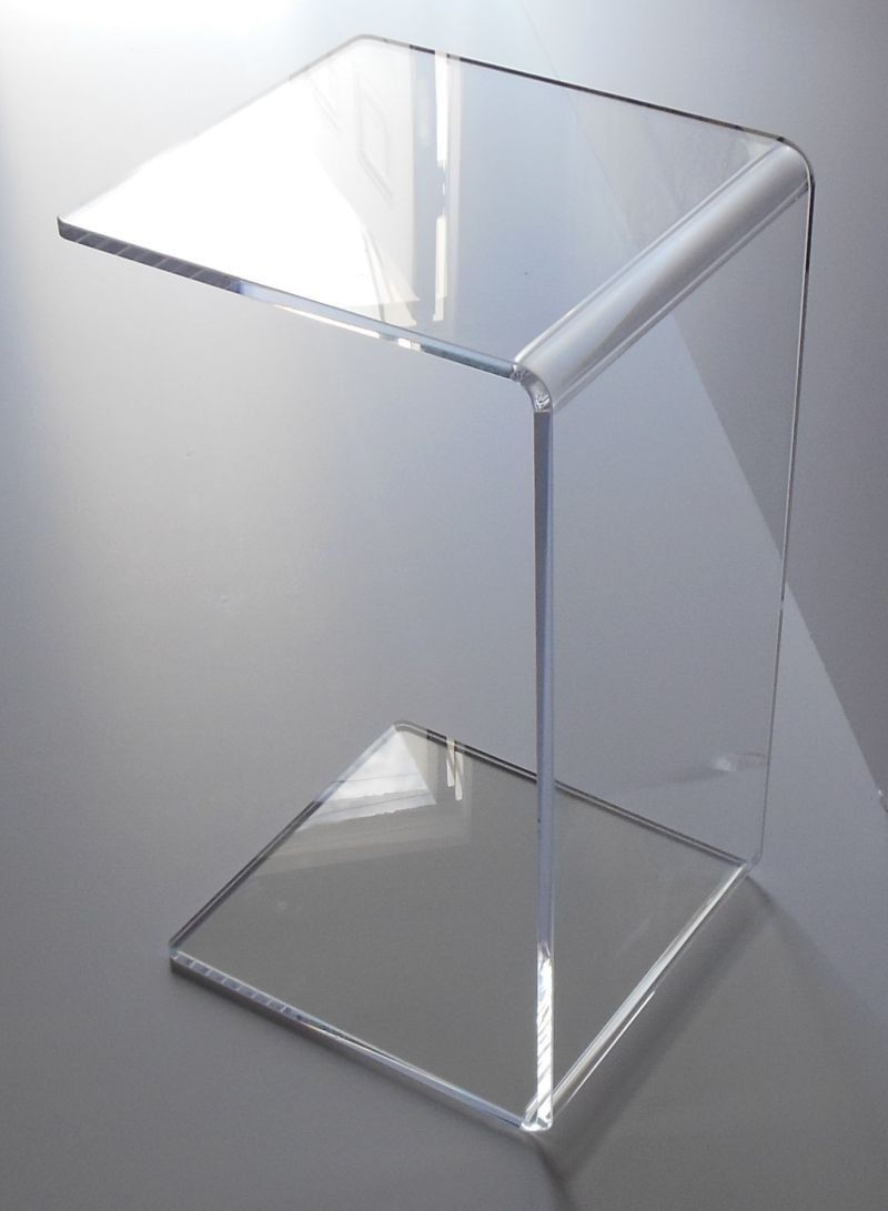 clear acrylic lucite plexiglass end slide table high tables couch laptop ashley medium coffee with stone inlay antique bedside small for sofa glass gold counter height kitchen