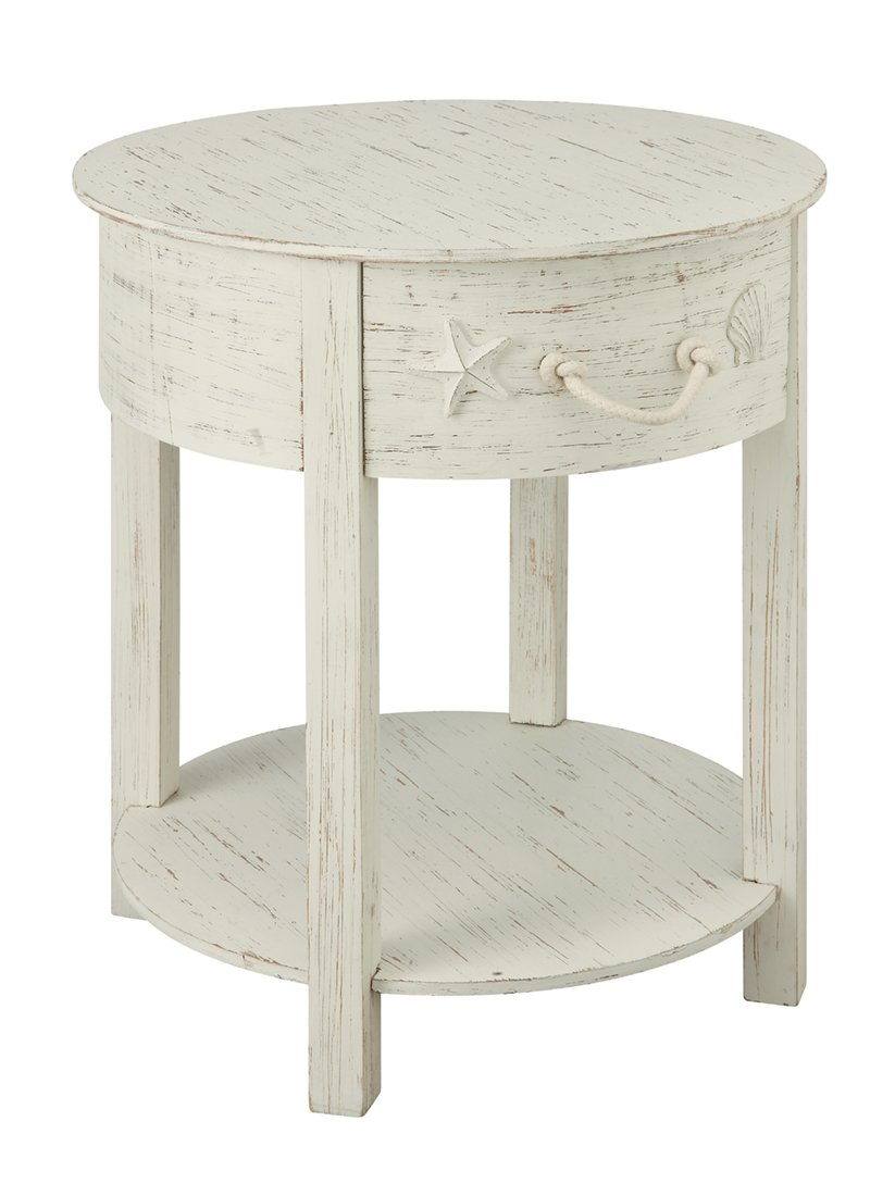 coast sanibel drawer end table kitchen dining distressed white tables square glass top sets ashlyn furniture tray patio snack galvanized pipe fittings for wesling coffee and set