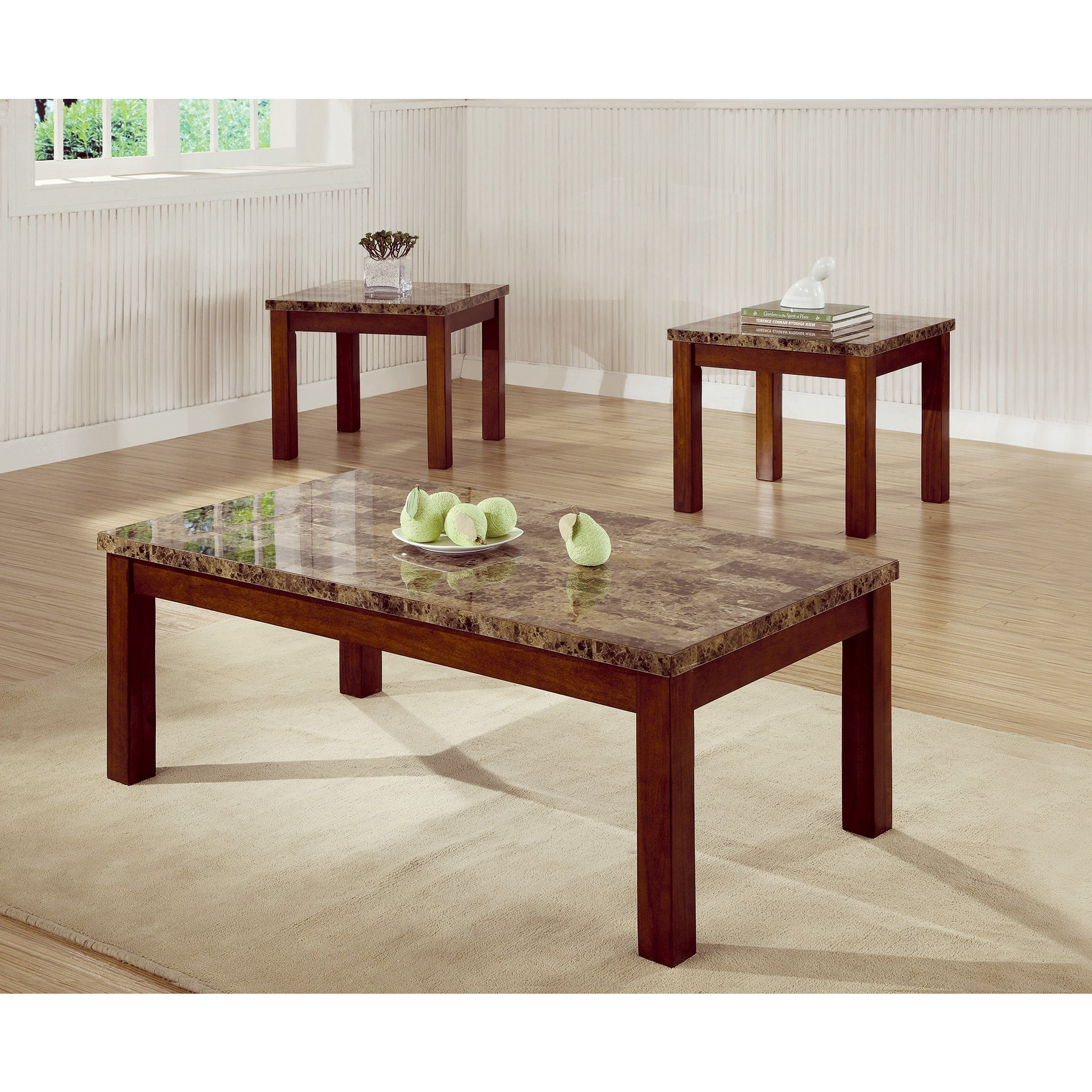 coaster company cherry faux marble occasional table set free looking top end finish shipping today porter side stanley furniture caroline collection standard dining room size