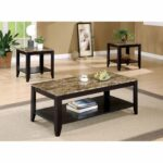 coaster furniture piece coffee table set with faux marble top end tables and broyhill yorkshire market bedroom ashley hallway large nightstand drawers oriental style inch lamps 150x150