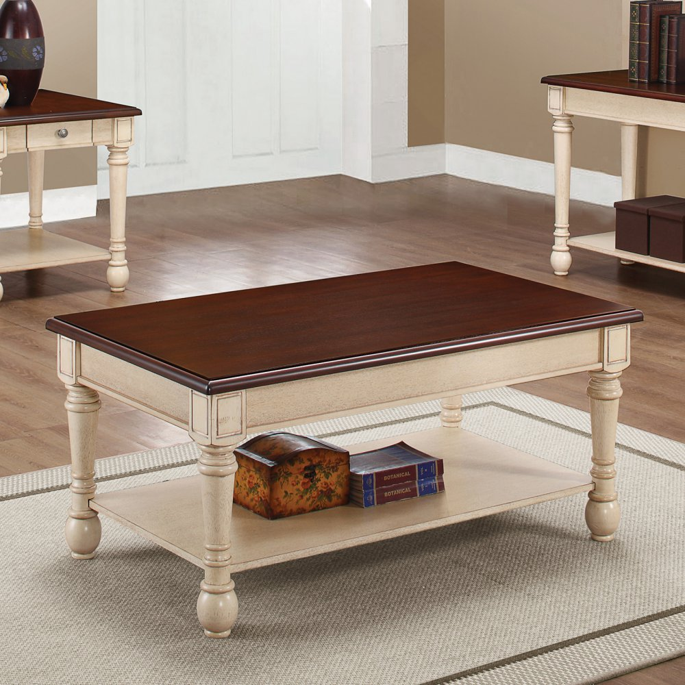 coaster furniture wood coffee table with dark brown top and antique master white end base lazy boy leather sectional broyhill mirror home goods best nesting tables american