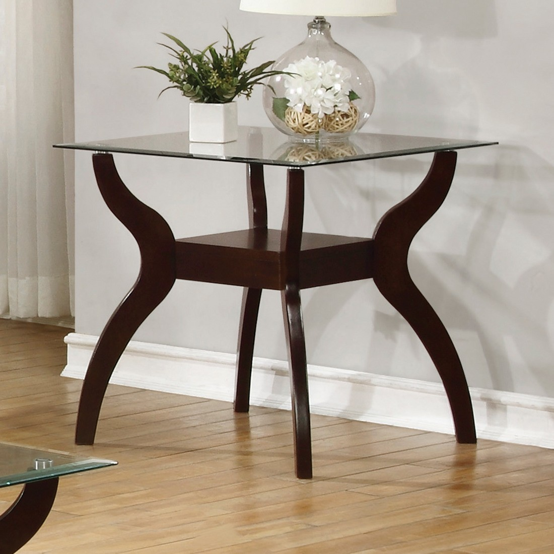 coaster mid century modern end table with glass top tables and coffee cappuccino furniture dining room chairs inexpensive bedside ideas sauder carson forge side pottery barn