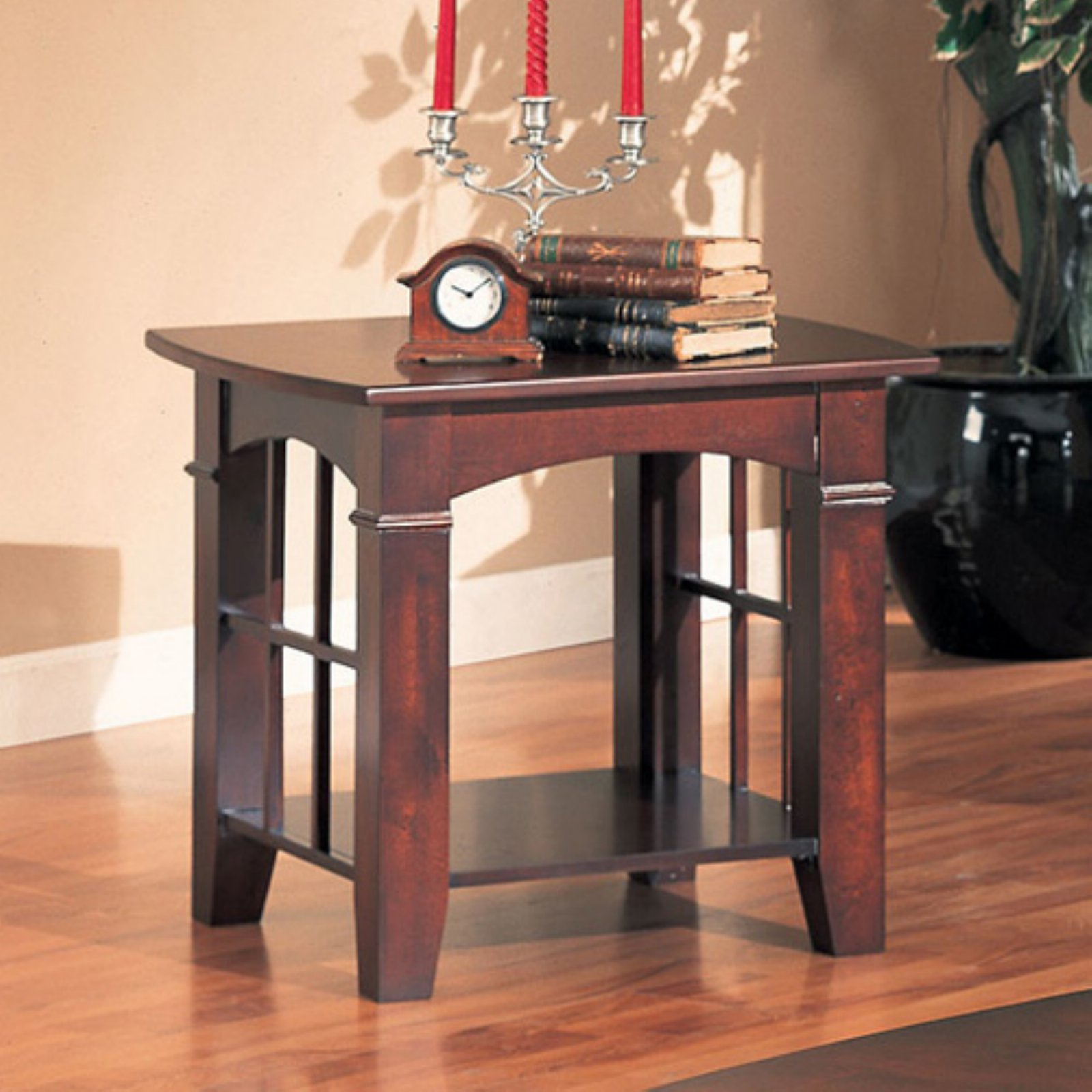 coaster traditional end table cherry finish glass coffee living room distressed oak diy wood with pipe legs stanley dining stickley furniture jobs modern contemporary square