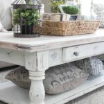 coffee table decorating ideas get your living room shape white farmhouse end earthy washed and clutter catching raffia basket decorations small tables for outdoors vintage square 150x150