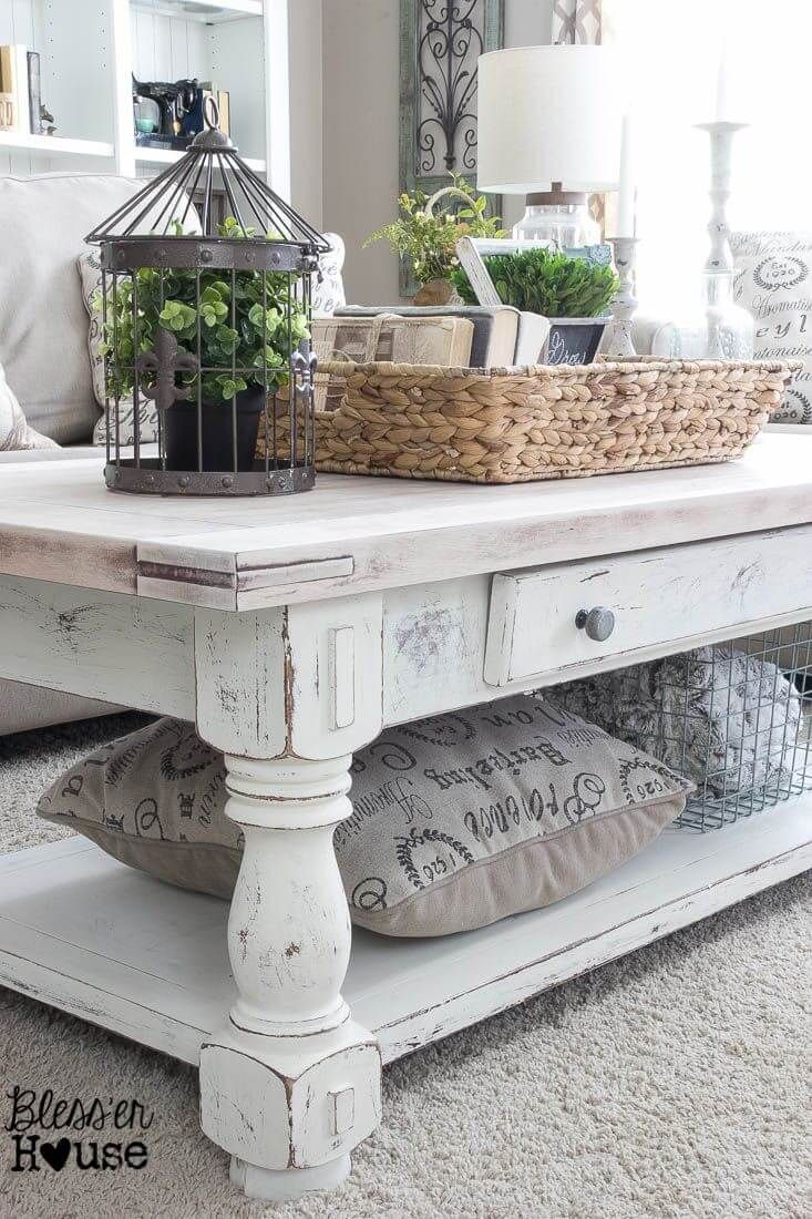 coffee table decorating ideas get your living room shape white farmhouse end earthy washed and clutter catching raffia basket decorations small tables for outdoors vintage square