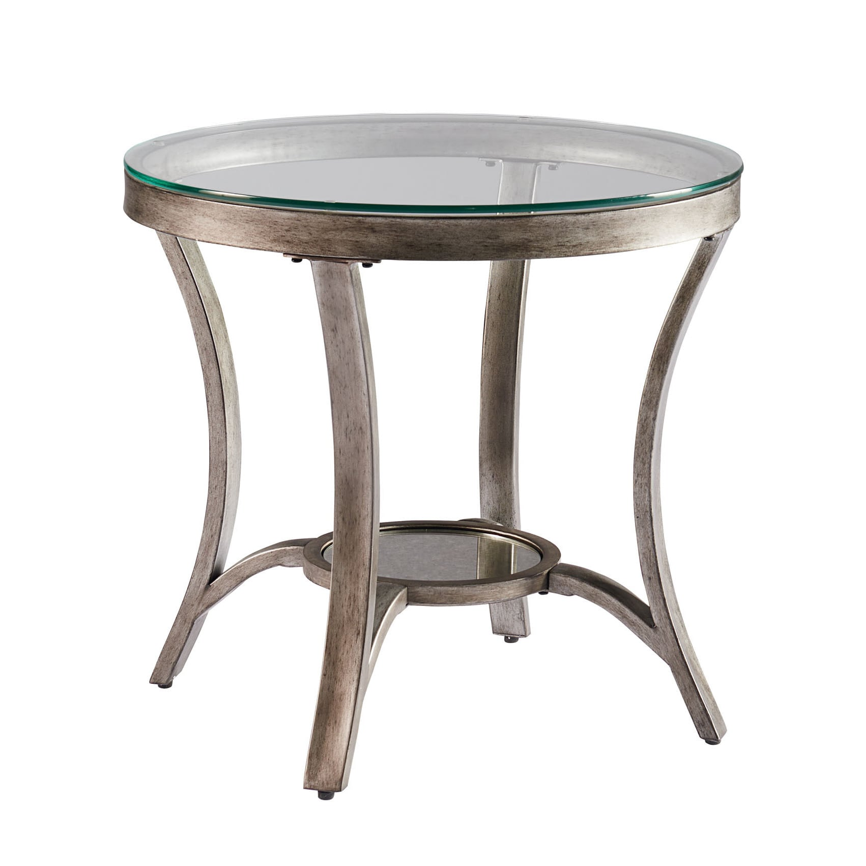 cole grey metal round end table with glass top tables tablecloth pulaski furniture hall chest what color rug brown leather sofa sleek modern galvanized pipe base patio side