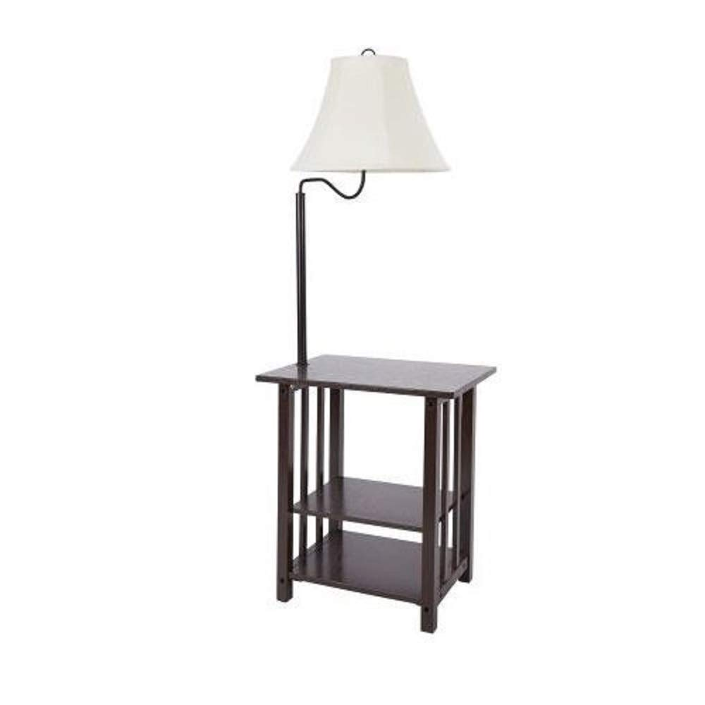 combination floor lamp end table with shelves and swing arm shade combo use nightstand magazine rack sofa lamps wooden for drawing room lift top coffee chest tiny patio dark