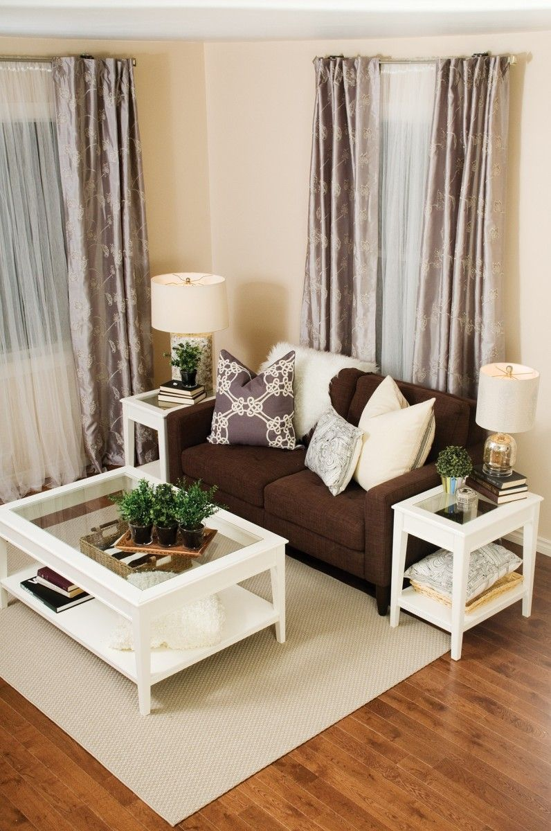 contemporary living room decor ideas brown couch with the white what color end tables coffee table and matching even curtains are perfect match outdoor lunch large decorative dog