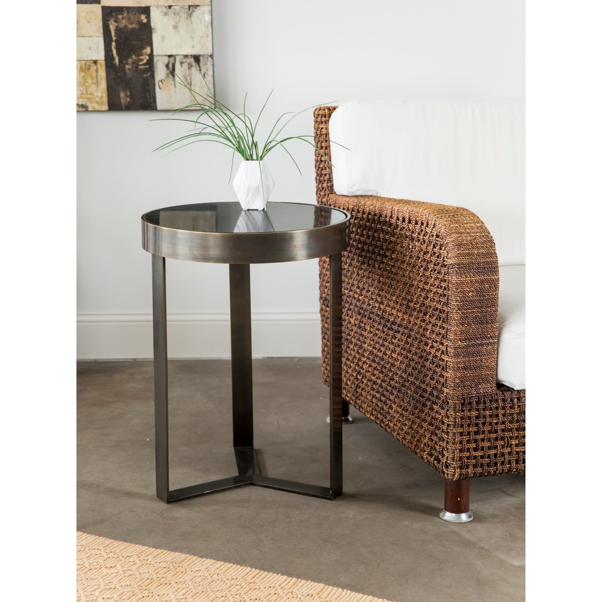contemporary mini metal and stone side table free end tables coffee with storage small behind sofa magnolia home kids dark brown leather furniture decorating ideas round glass