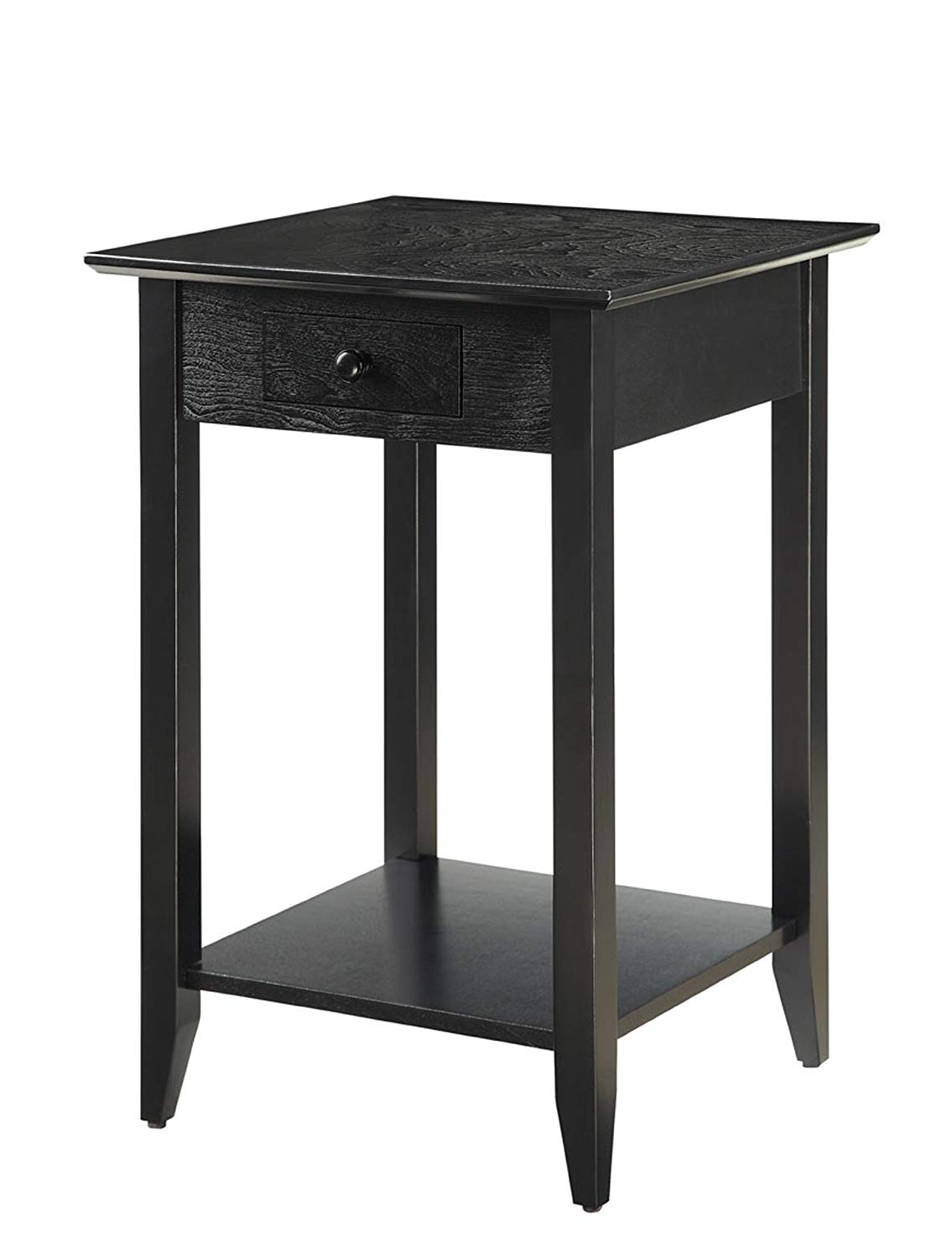 convenience concepts american heritage end table with black basket shelf and drawer kitchen dining boardroom broyhill sofa rattan furniture coffee dark cherry magnolia farms waco
