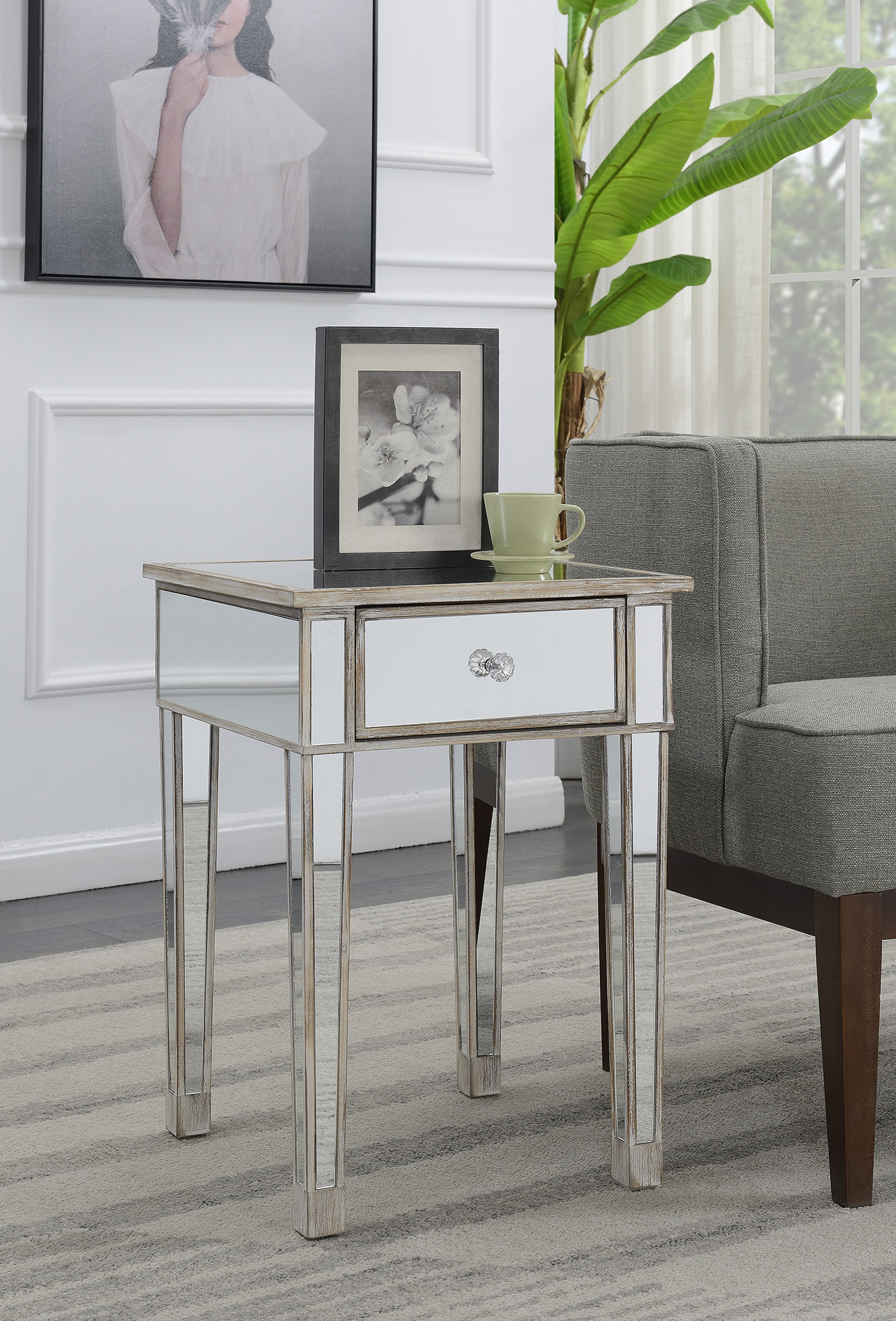 convenience concepts gold coast mirrored end table with drawer glass mirror tables black dining room sets brick side big lots storage bench jofran cocktail liberty furniture hall