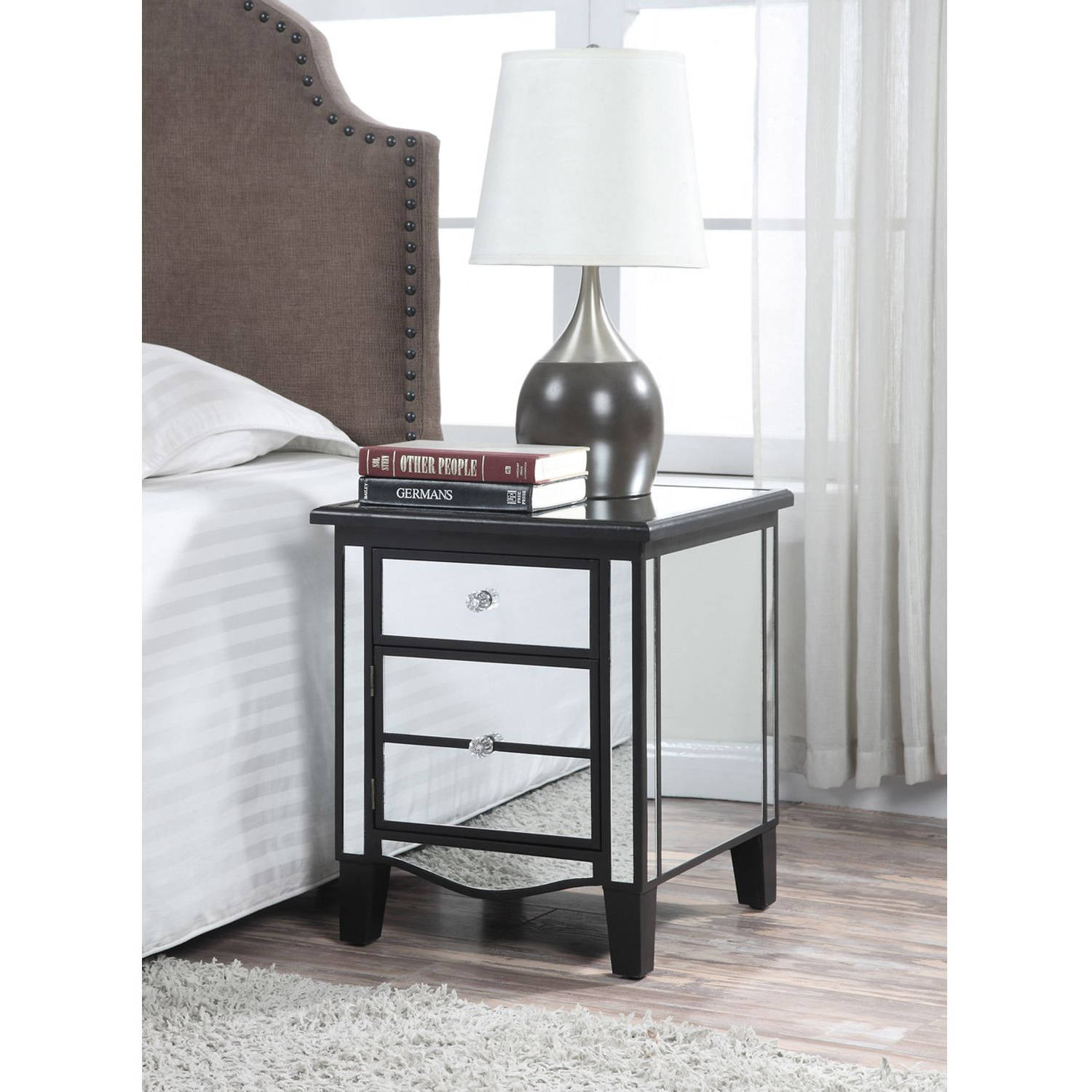convenience concepts gold coast park lane mirrored end table glass bedroom tables multiple colors black oak coffee wood block nightstand ashley hogan sofa brown couch what color