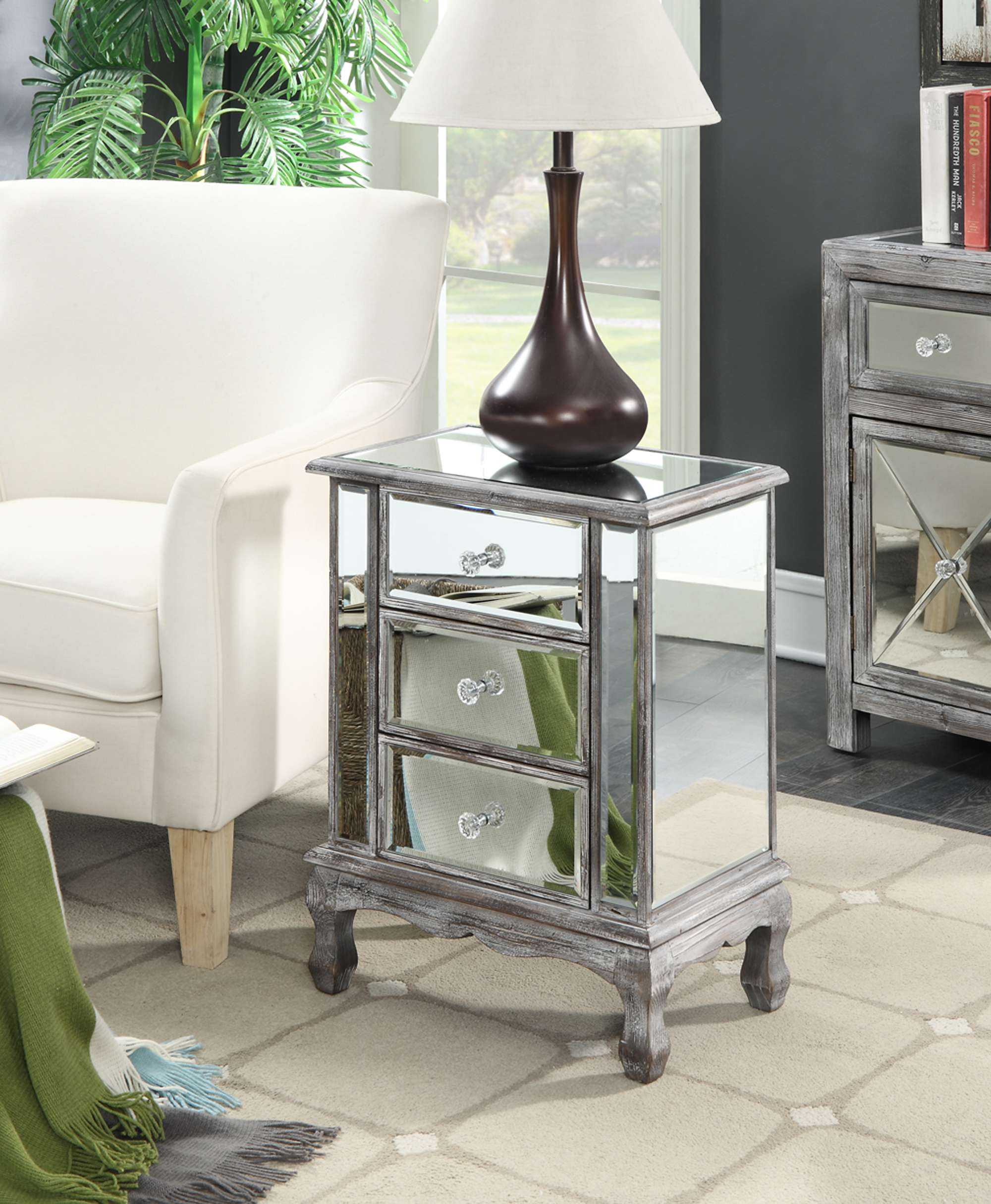 convenience concepts gold coast vineyard weathered gray drawer mirrored end table round mirror sauder furniture clearance stone and glass tables pipe making wood inch nightstand