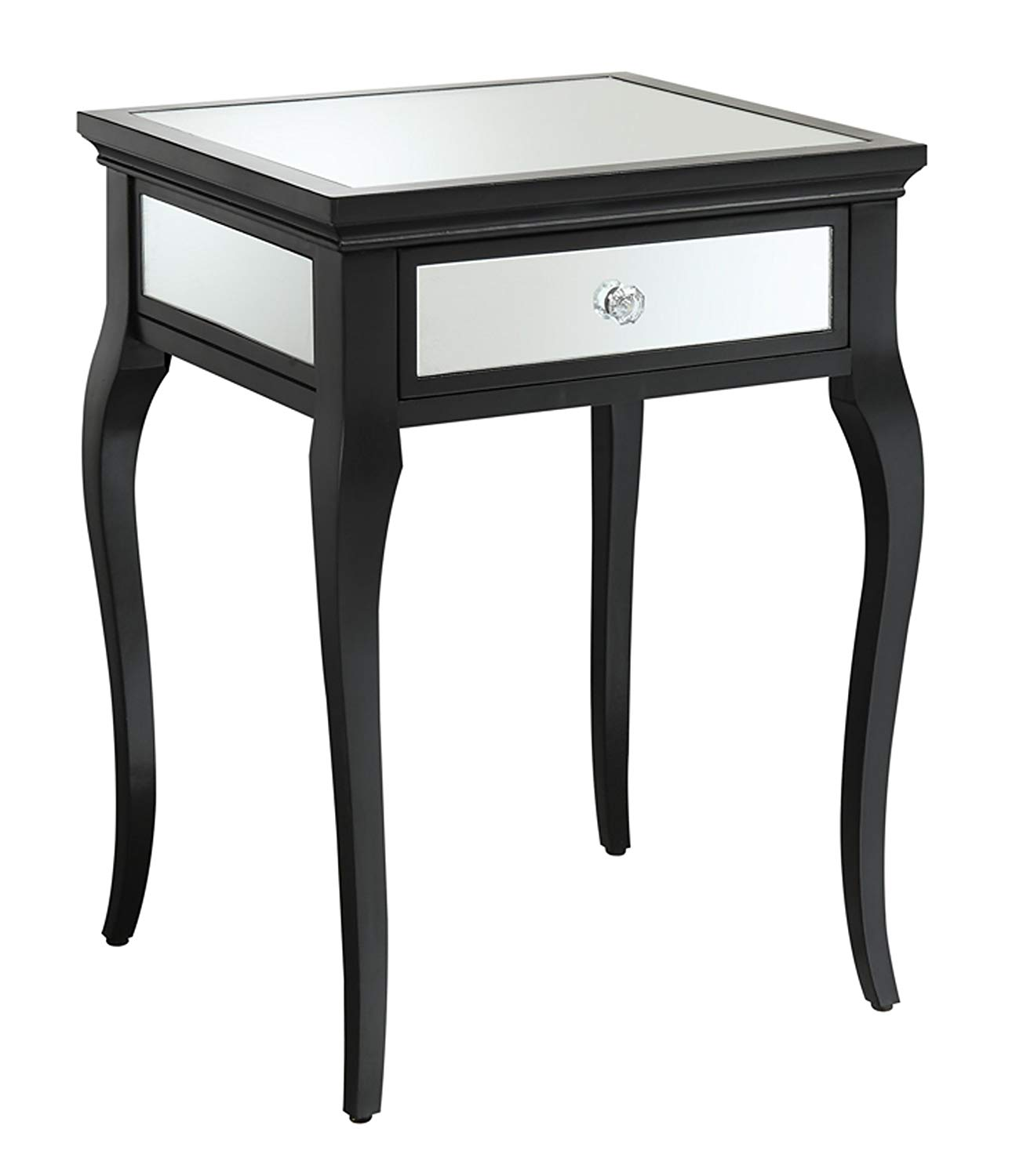 convenience concepts milan mirrored end table black kitchen dining sofa tables distressed round pedestal inch nightstand cuisinart meat claws soft leather leons king mattress navy