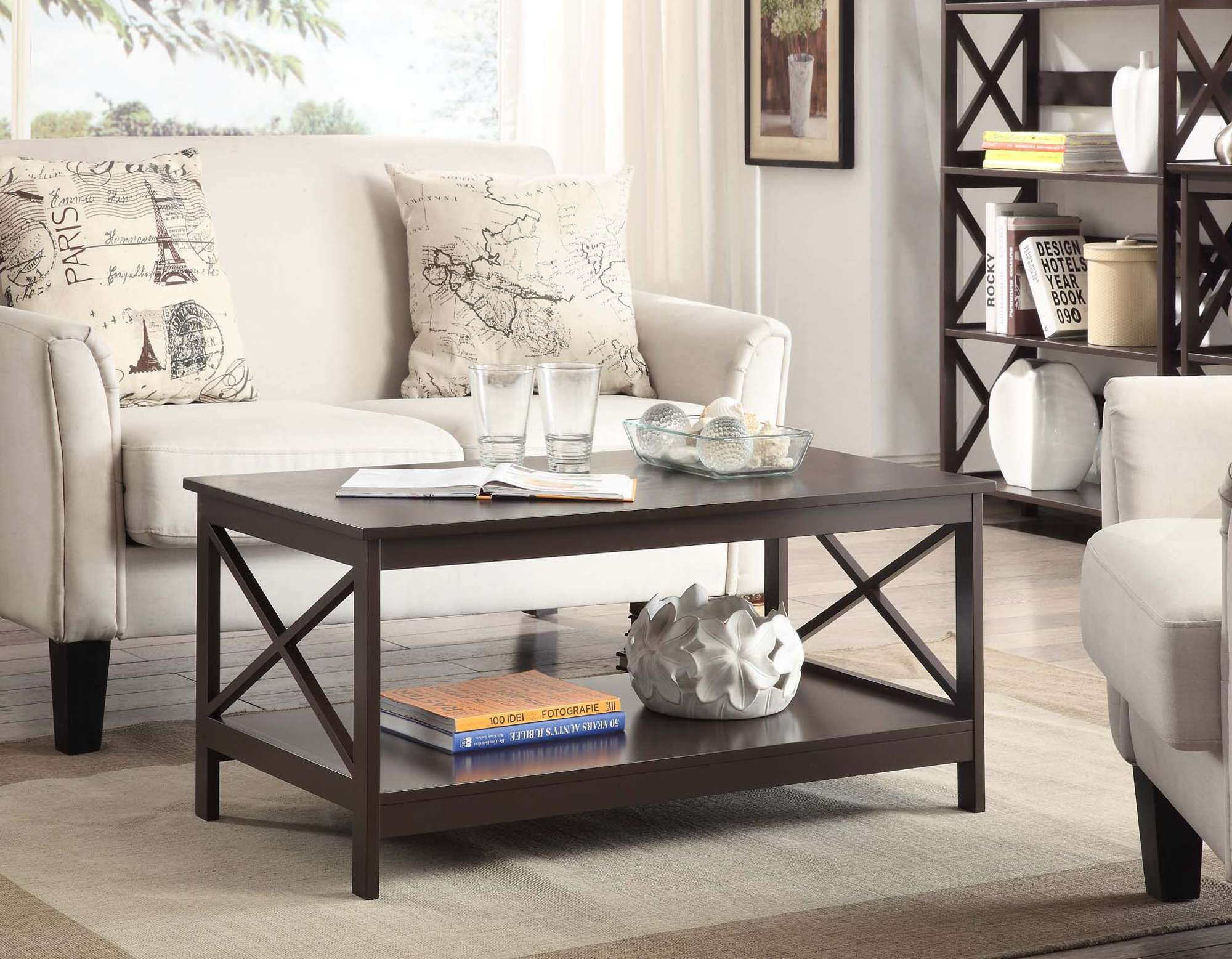 convenience concepts oxford coffee table espresso reviews end sears living room tables small round outside ethan allen mattress perfect light height bedroom furniture lazy boy